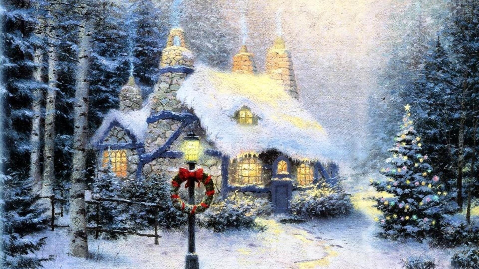 thomas kinkade christmas backgrounds