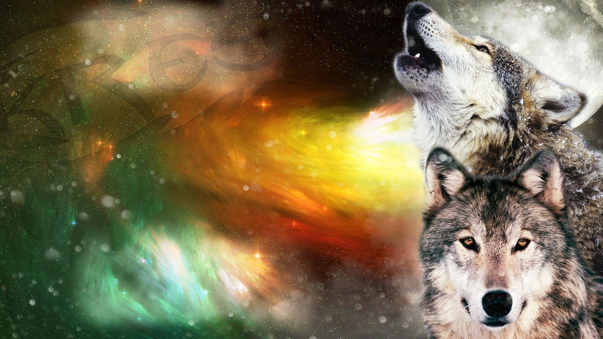 Wolf Howling at The Moon Wallpaper ·①