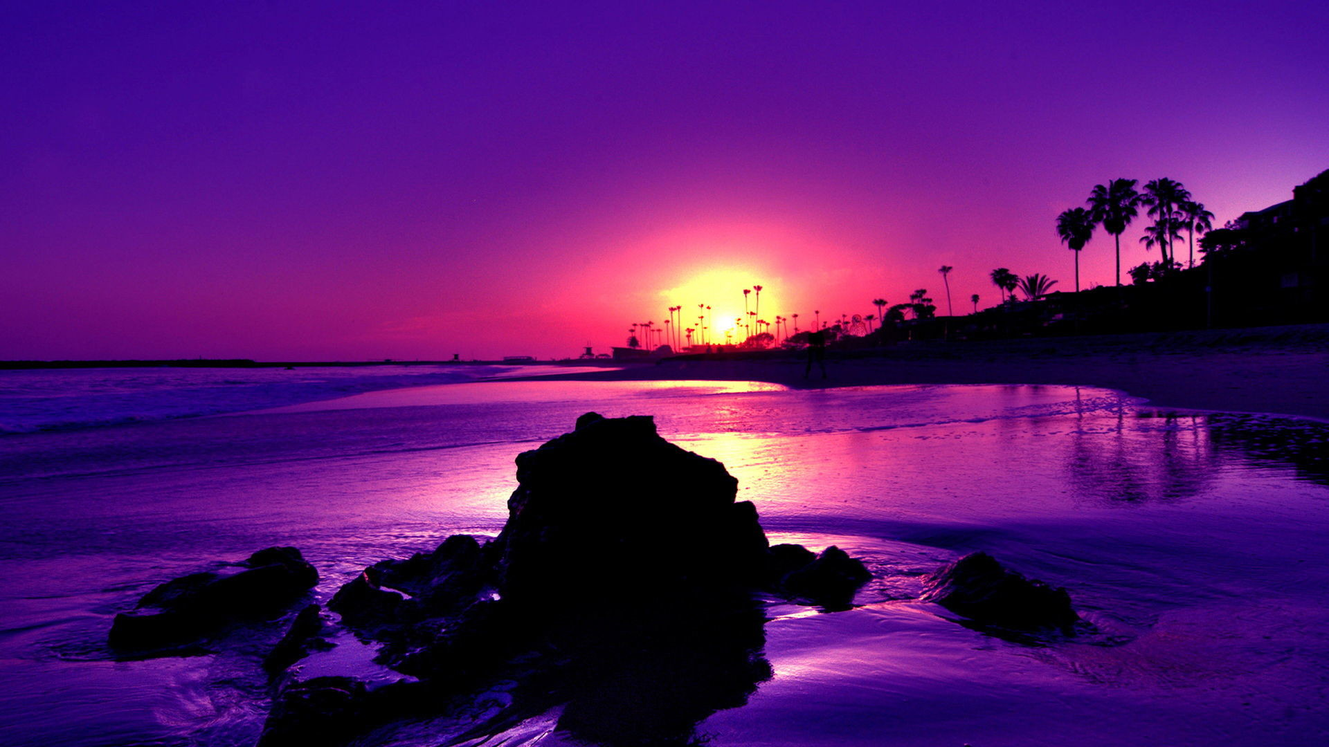 розовый закат, море, горы  № 3110165  скачать