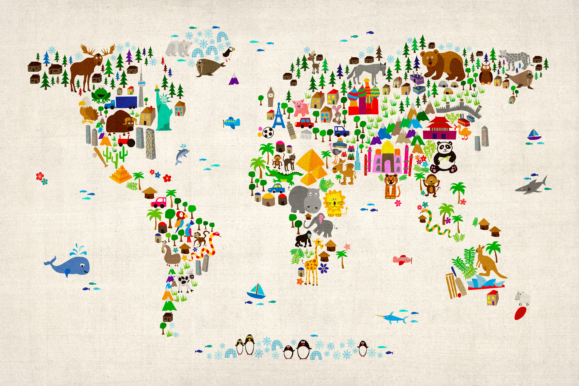 Global map wallpaper 2000x1333 kids animal world map vintage hires gumiabroncs Image collections