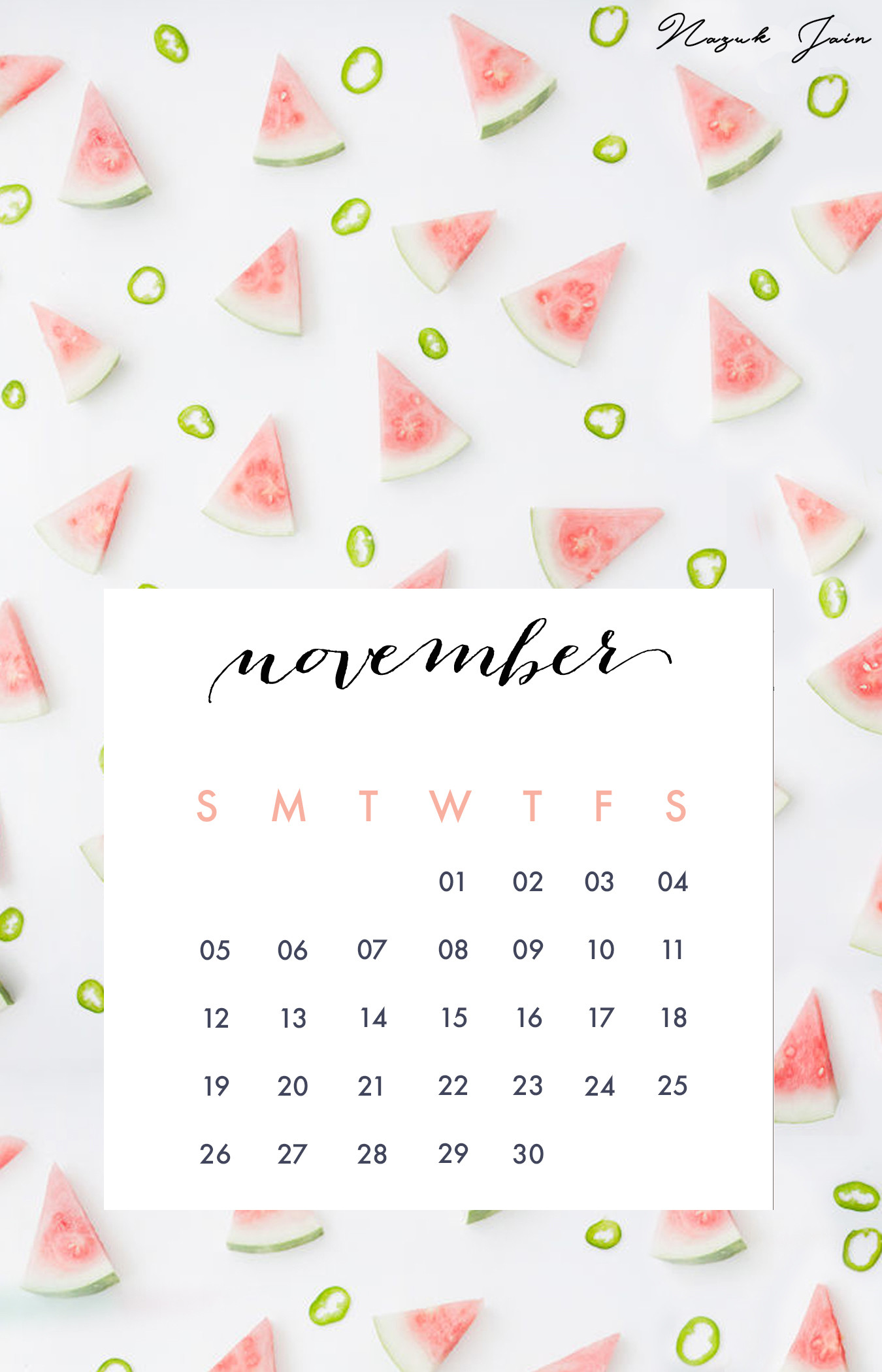 Calendar Wallpaper For Iphone : Desktop wallpapers calendar november ·①