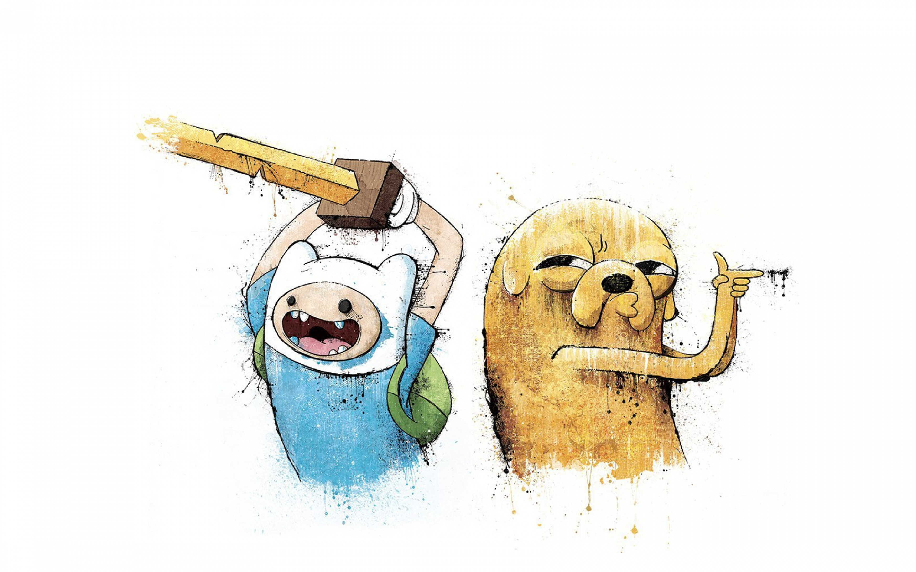 3840x2400 Preview wallpaper adventure time, finn and jake, art 3840x2400