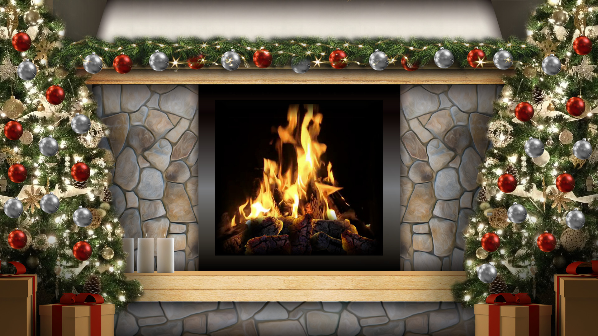 three chicks are fucking next to the fireplace on christmas  269302