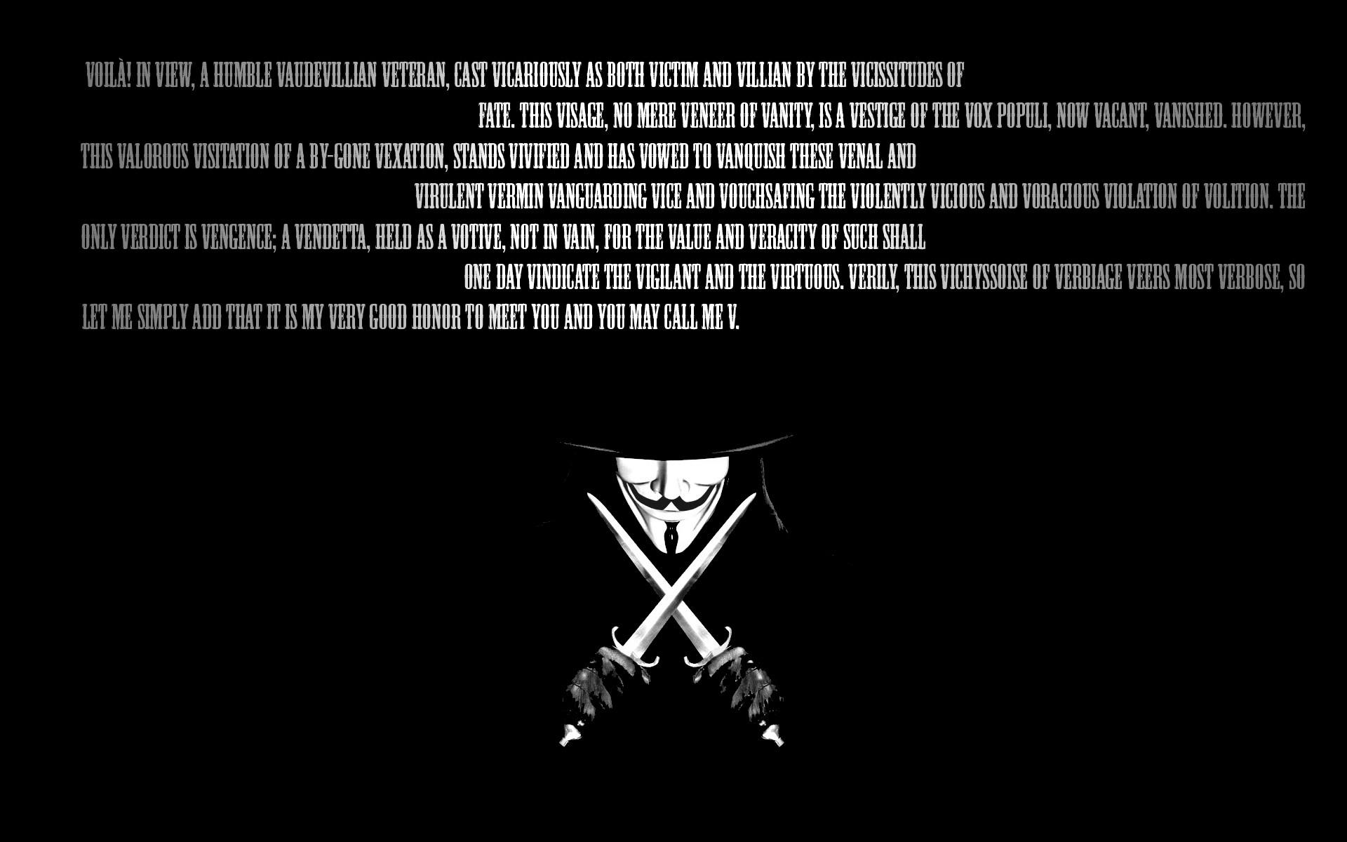 V For Vendetta Wallpaper HD 1