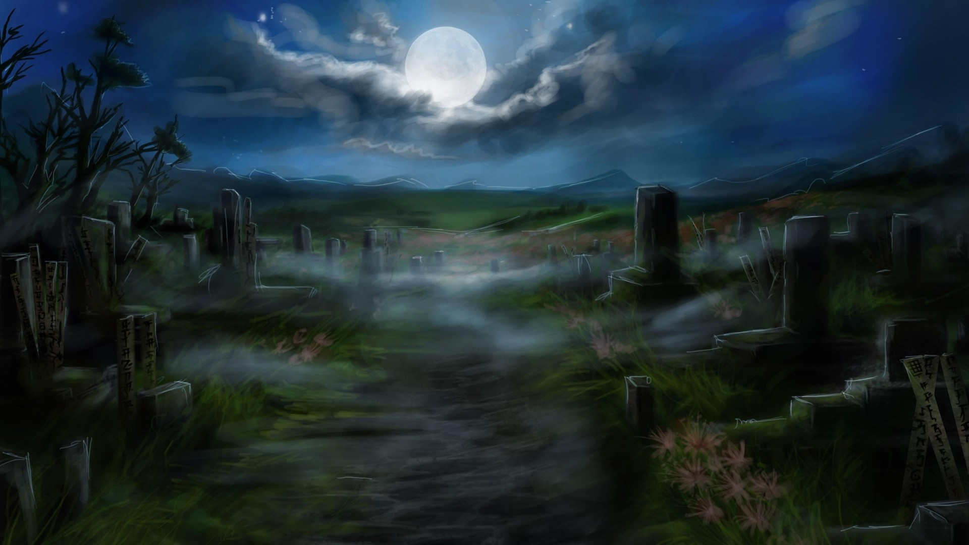 Halloween Cemetery - 3D and CG & Abstract Background ...  Halloween Tombstone Background