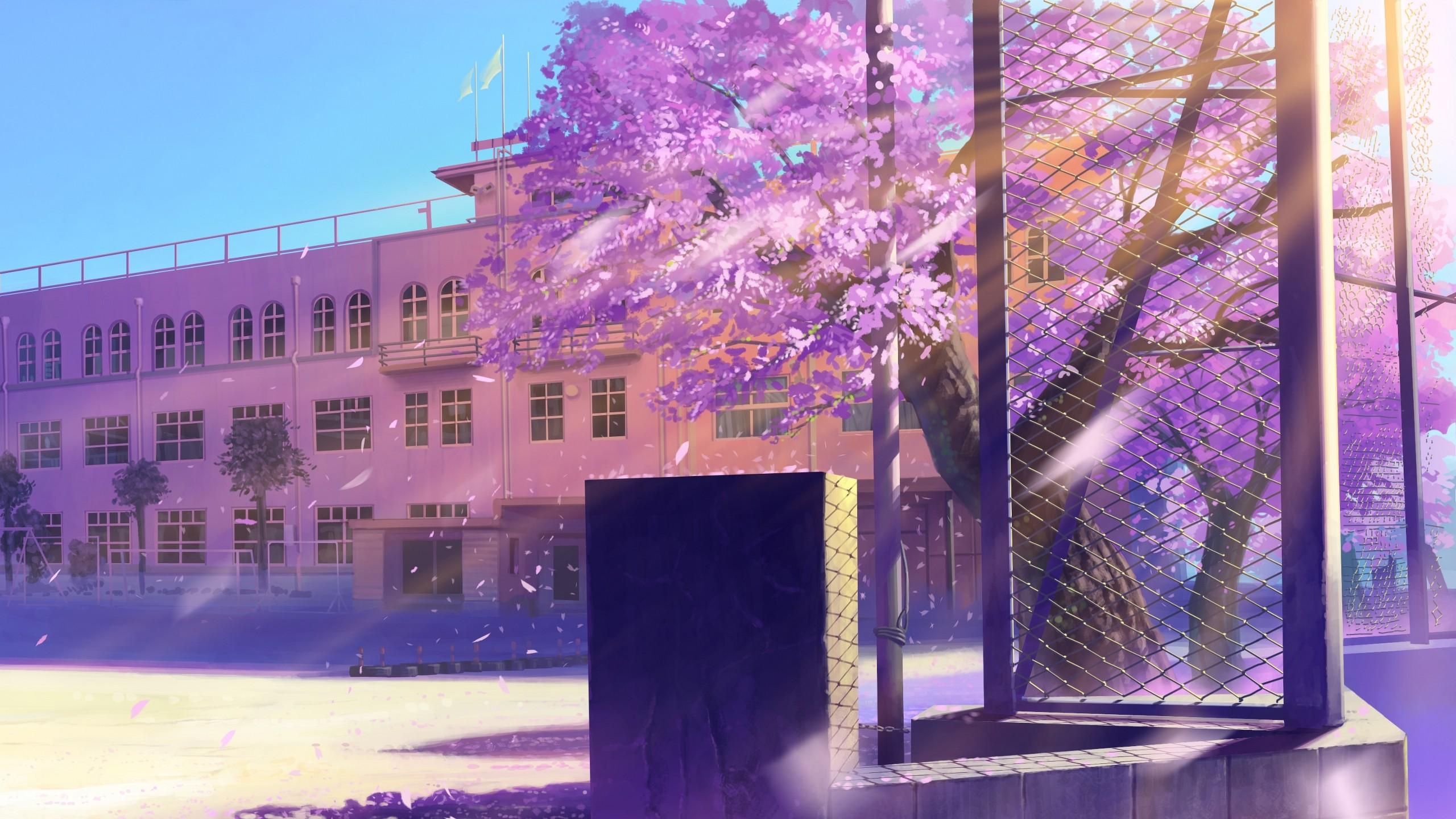 X X Wallpaper Anime School Winter Street
