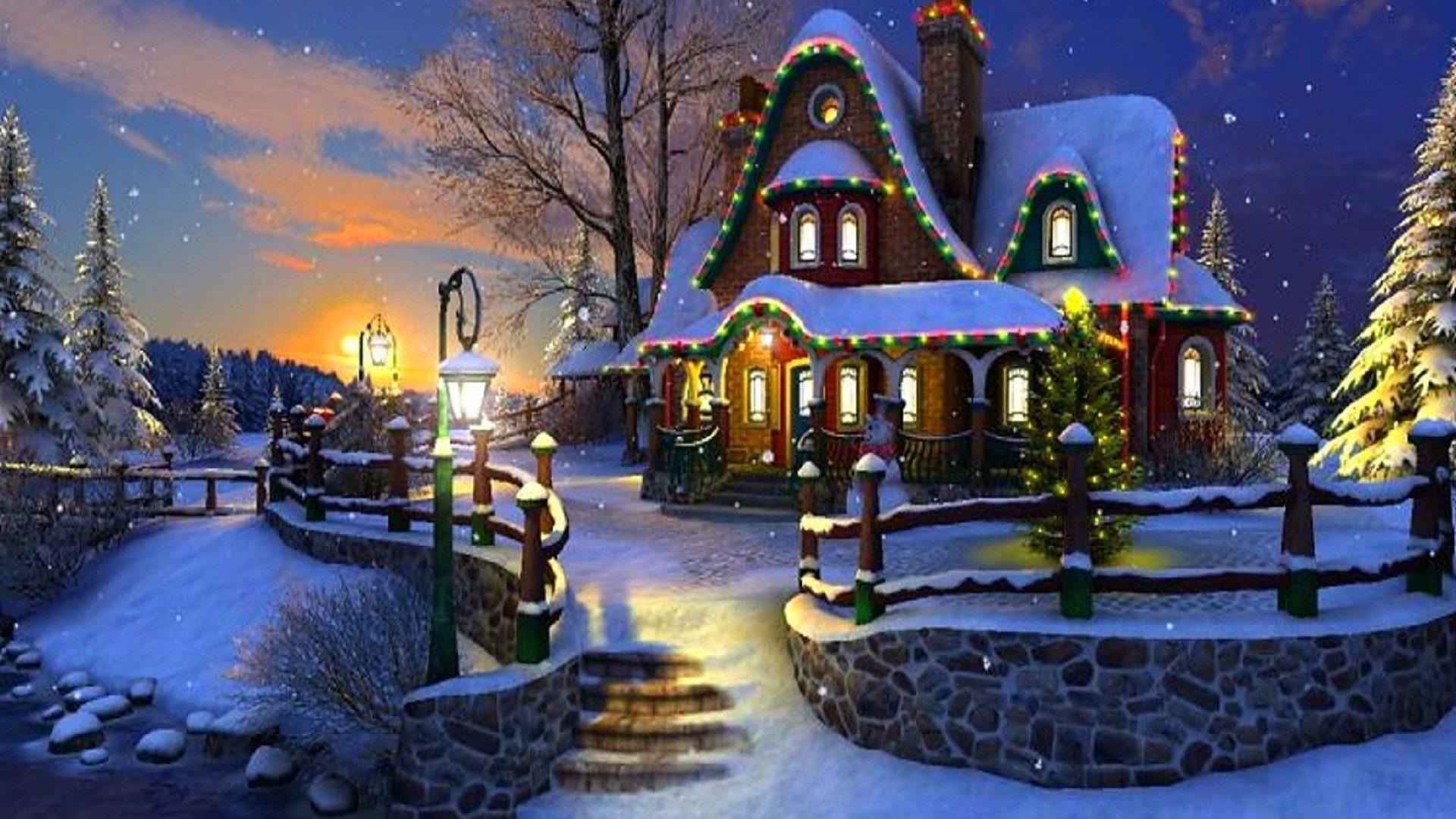 Обои для рабочего стола зима в деревне сказочные домики