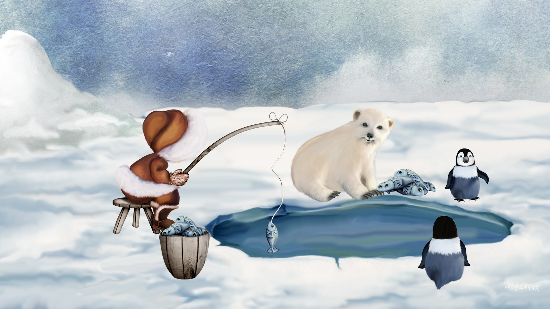 North pole wallpapers for Snow bear ice fishing