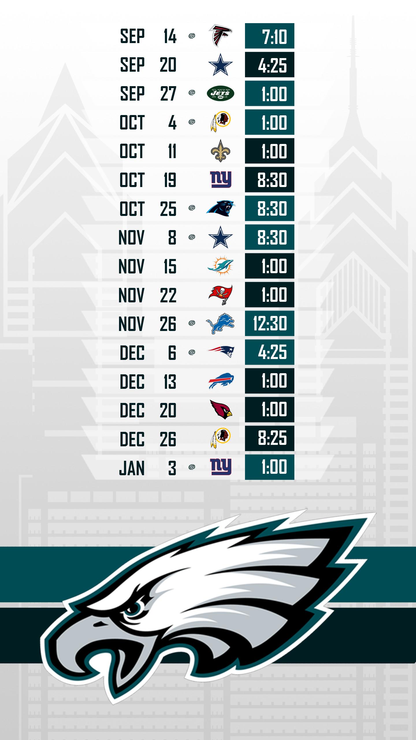 Philadelphia Eagles 2018 Schedule Wallpaper ·① WallpaperTag