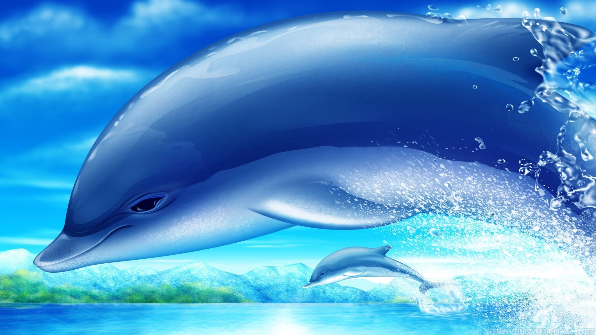 обои широкоформатные на рабочий стол бесплатно море и дельфины № 217045 бесплатно