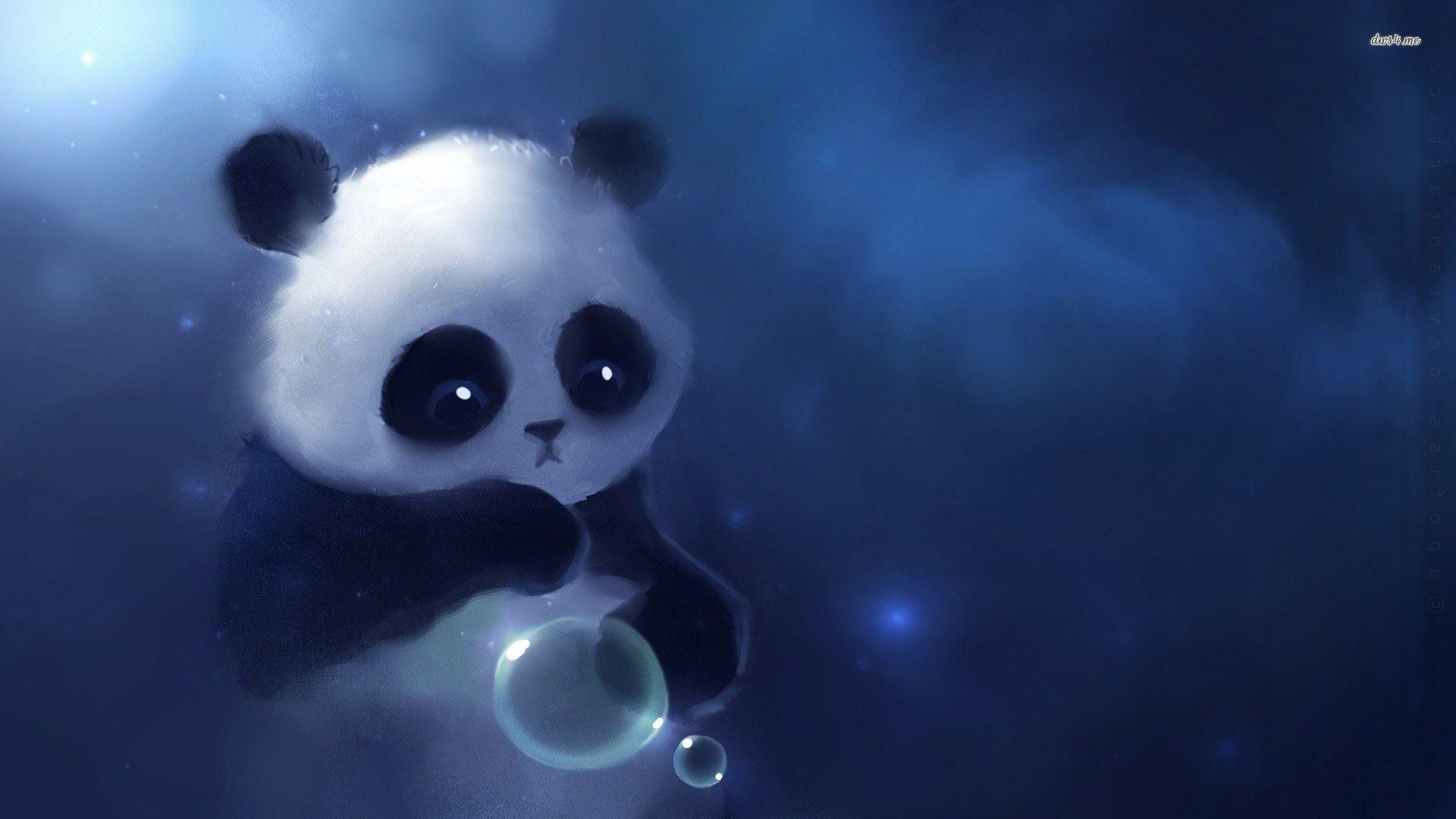 Cute Baby Panda Cartoon Wallpaper