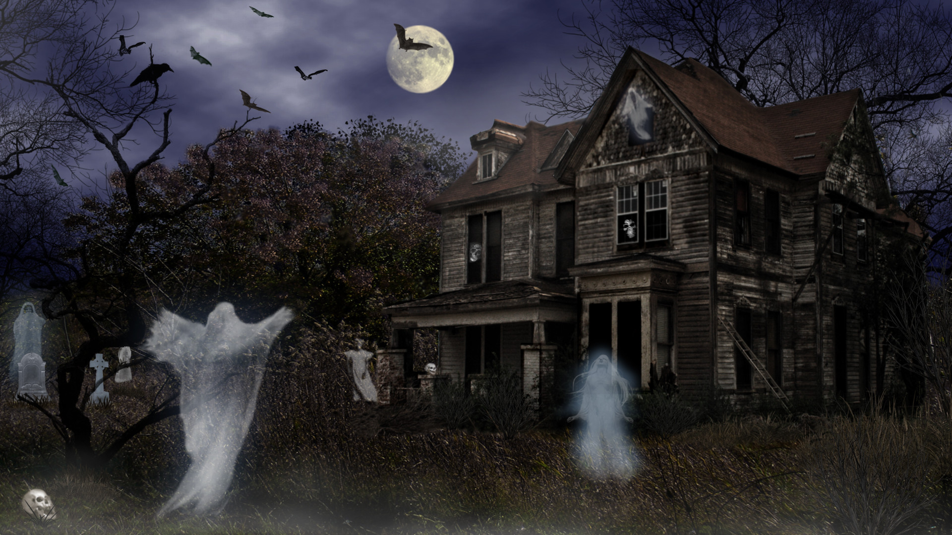 1920x1080 vacances halloween vacances haunted house maison night effrayant fond dcran wallpaper hd pinterest halloween haunted houses and wallpaper