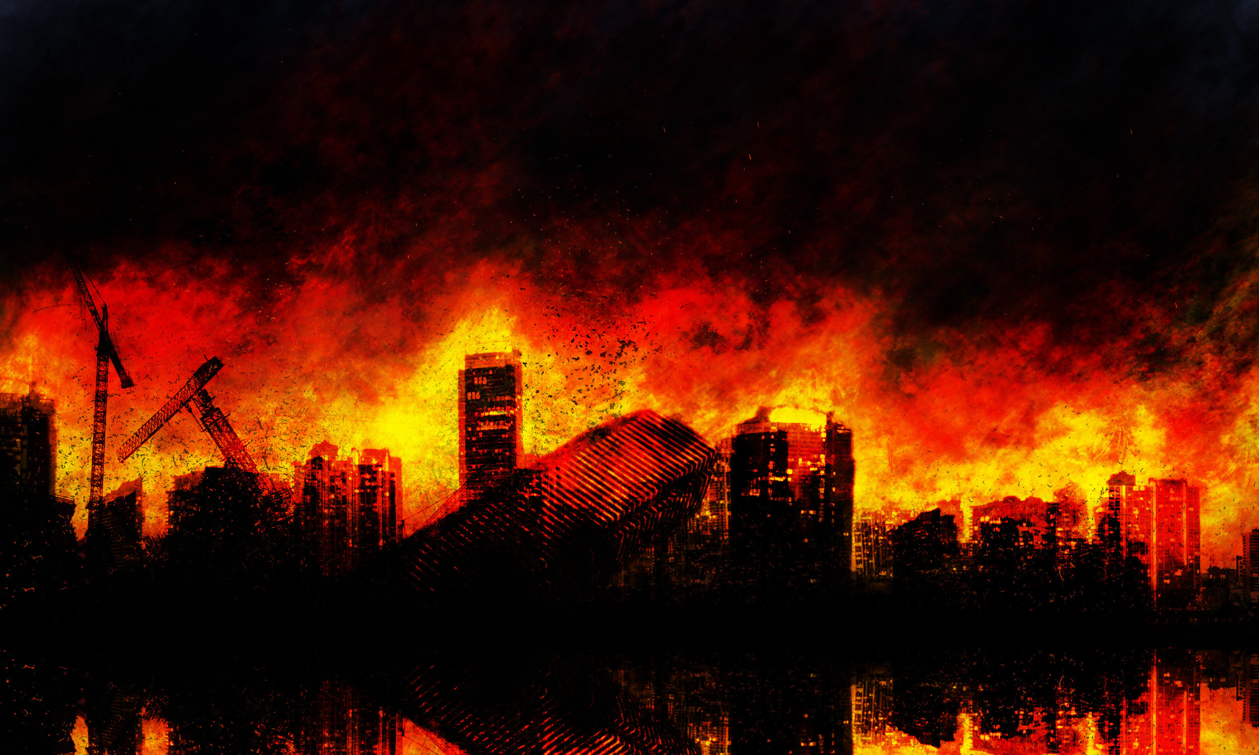 Burning City Background 183 ① Wallpapertag