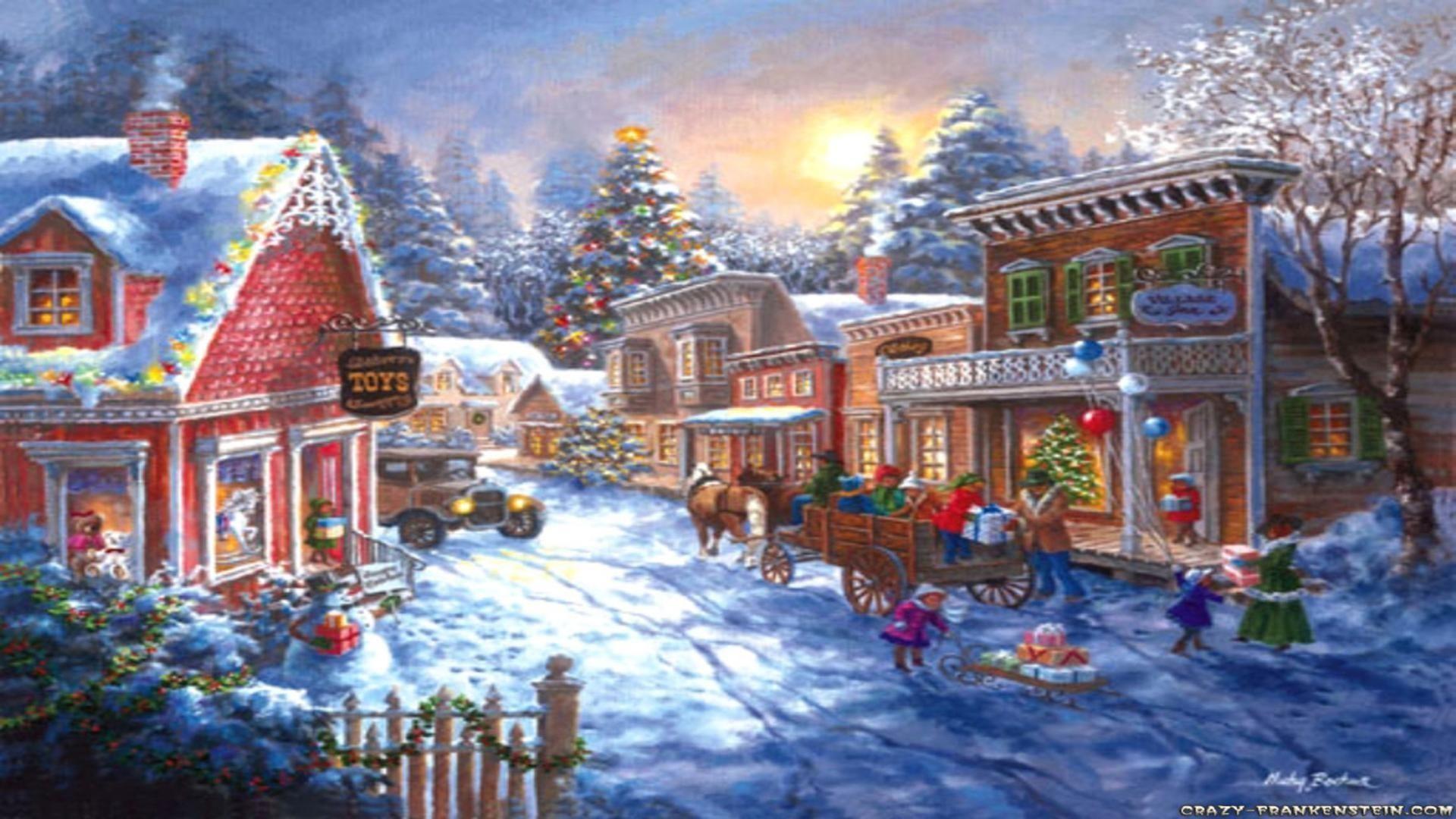 wallpaper christmas scenes 183��