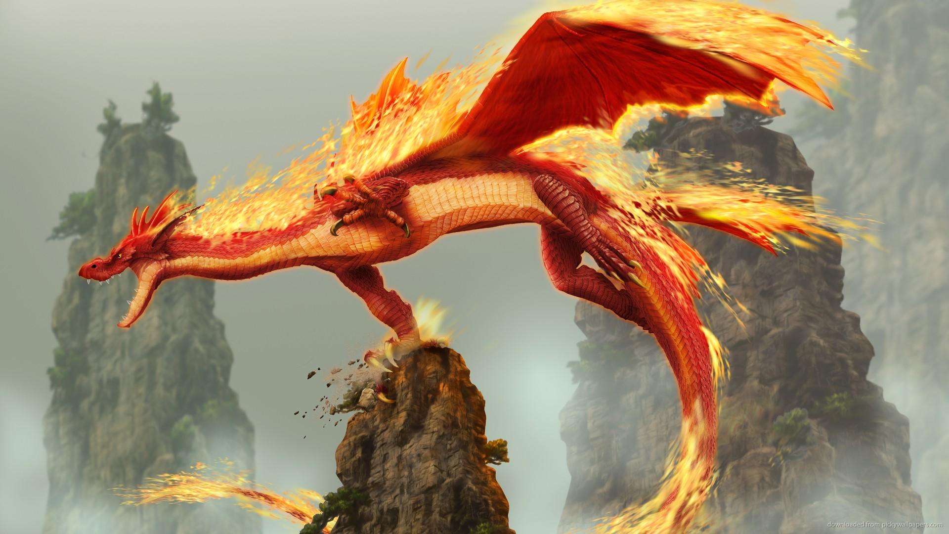 1920x1080 Dragon Wallpaper Fire Fantasy Download Girl