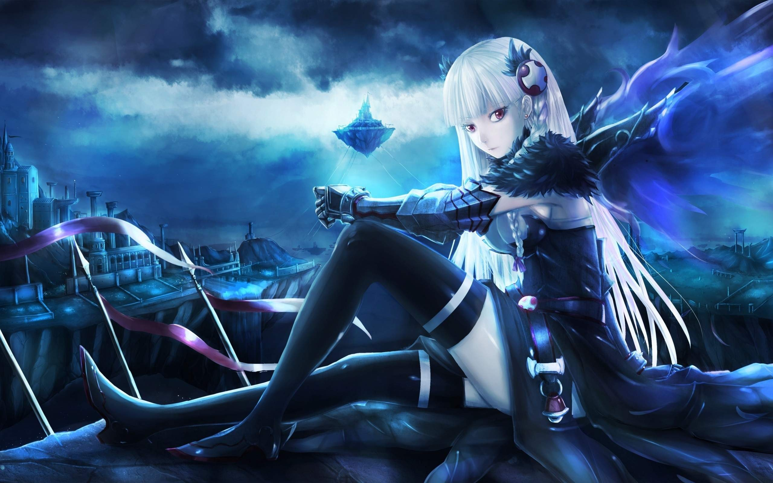 Anime girl wallpaper hd download free cool full hd - Blue anime wallpaper ...