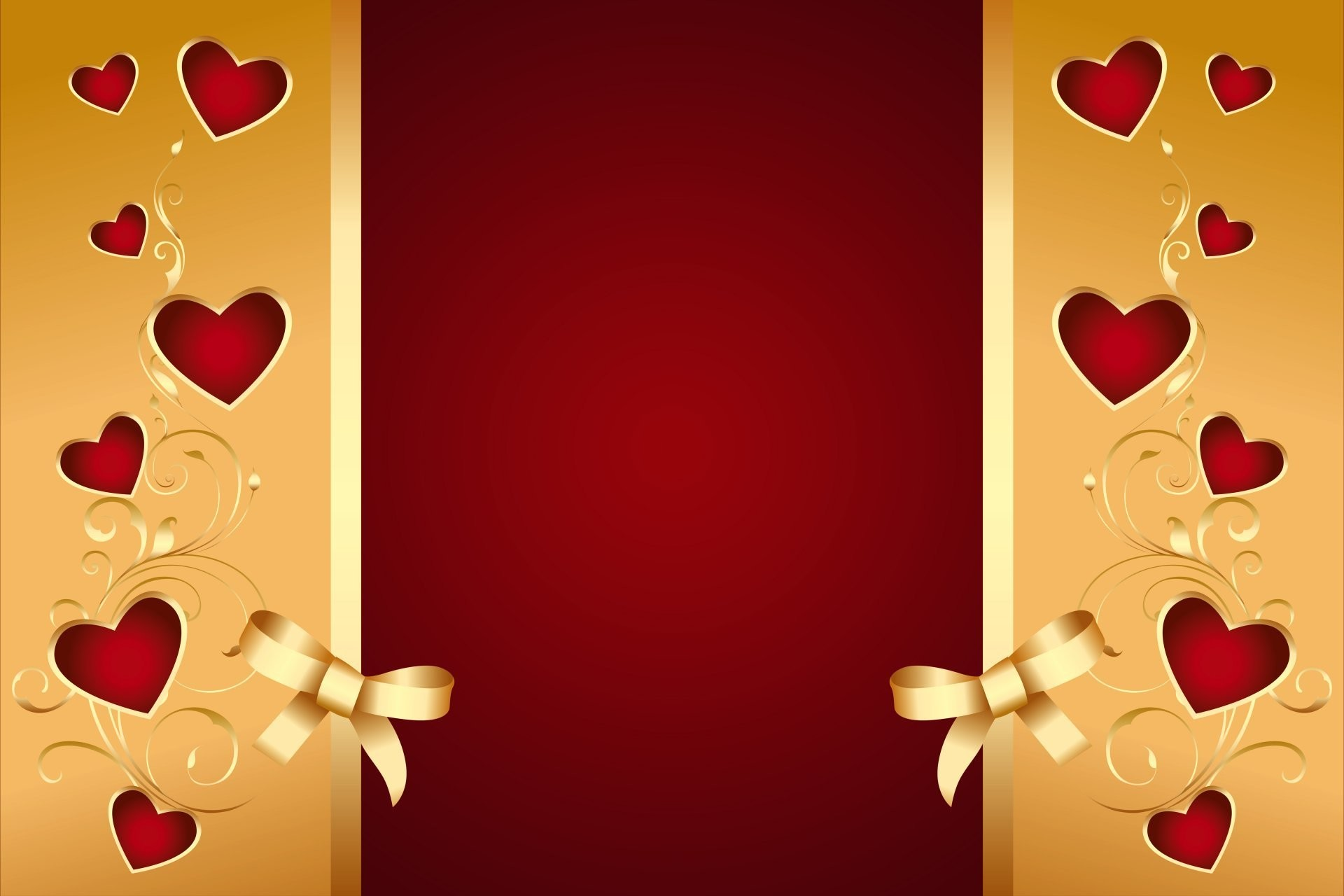 1920x1280 Red Golden Hearts Bow Romantic Love Valentine Background  Background Heart