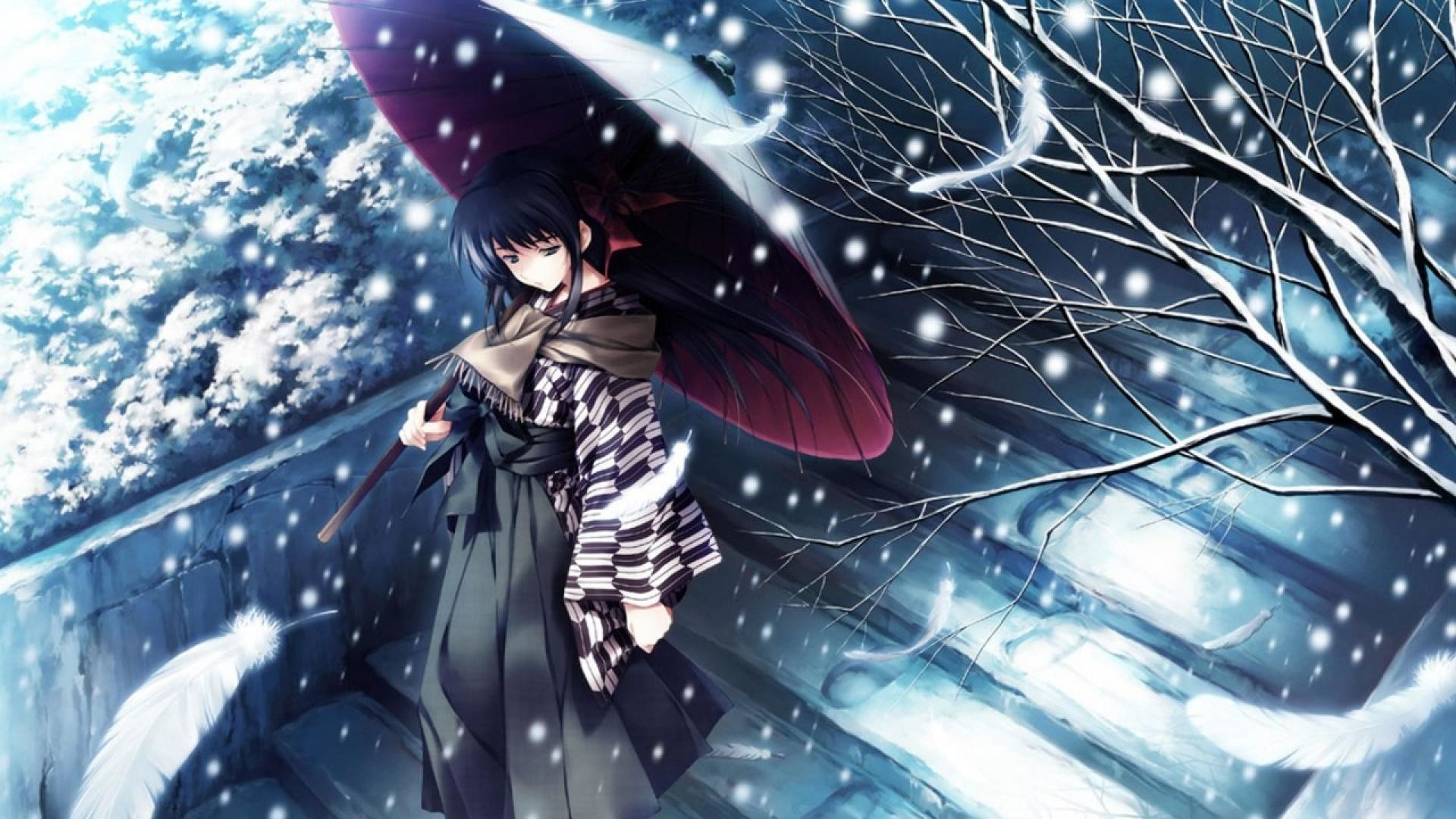 winter anime wallpaper ·①