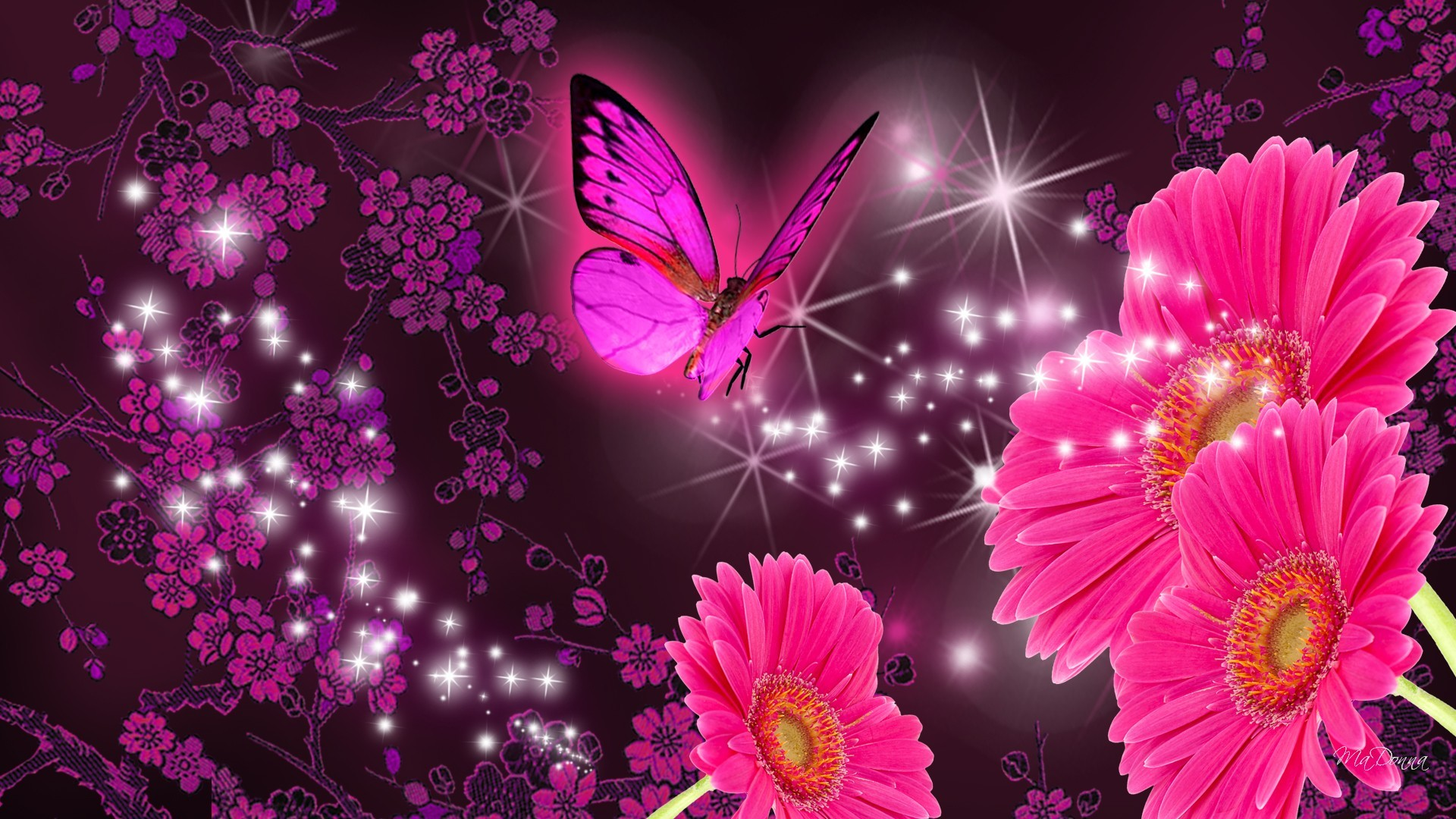 Pink vintage butterfly background - photo#53