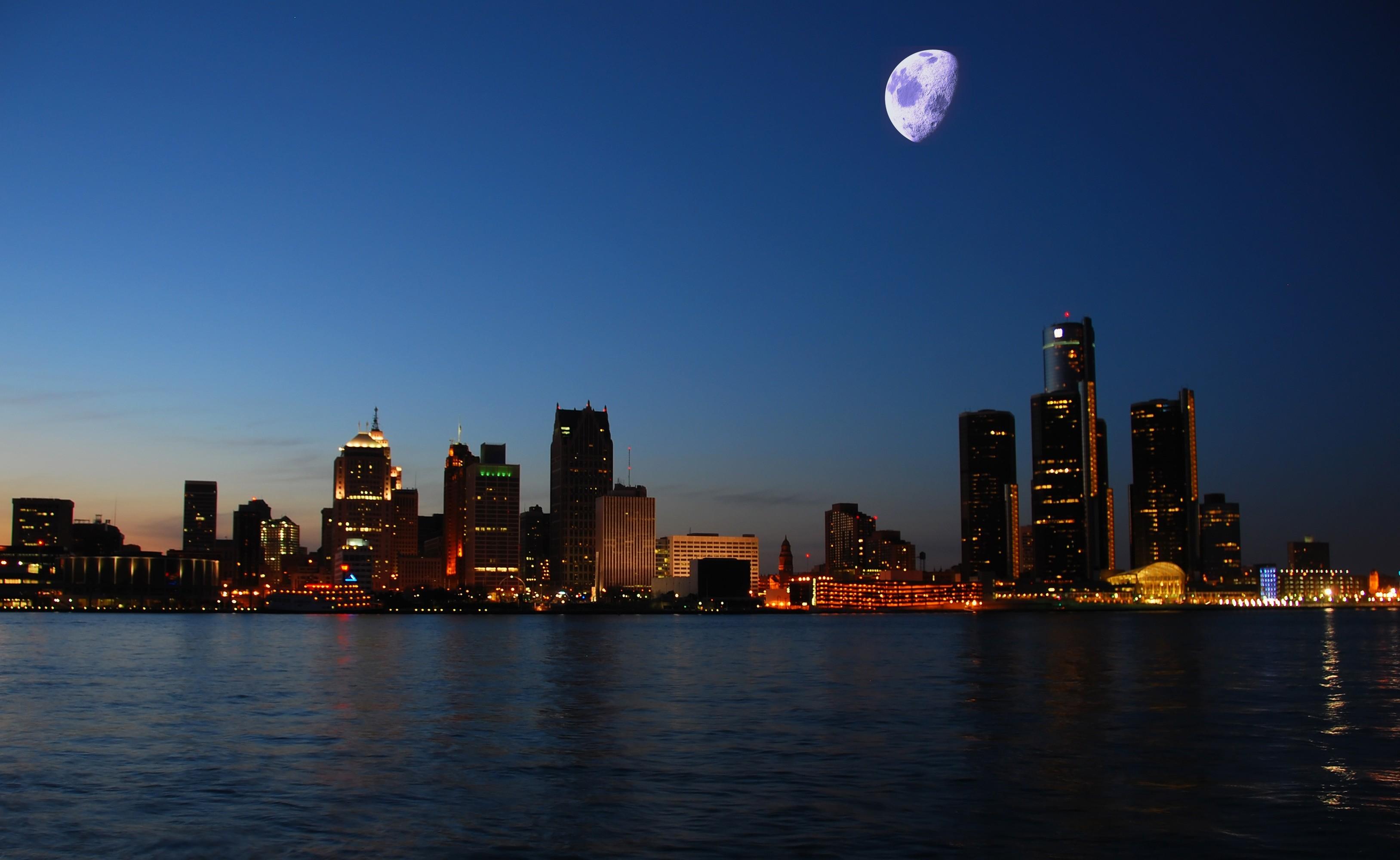 Detroit skyline wallpaper wallpapertag - Skyline night wallpaper ...