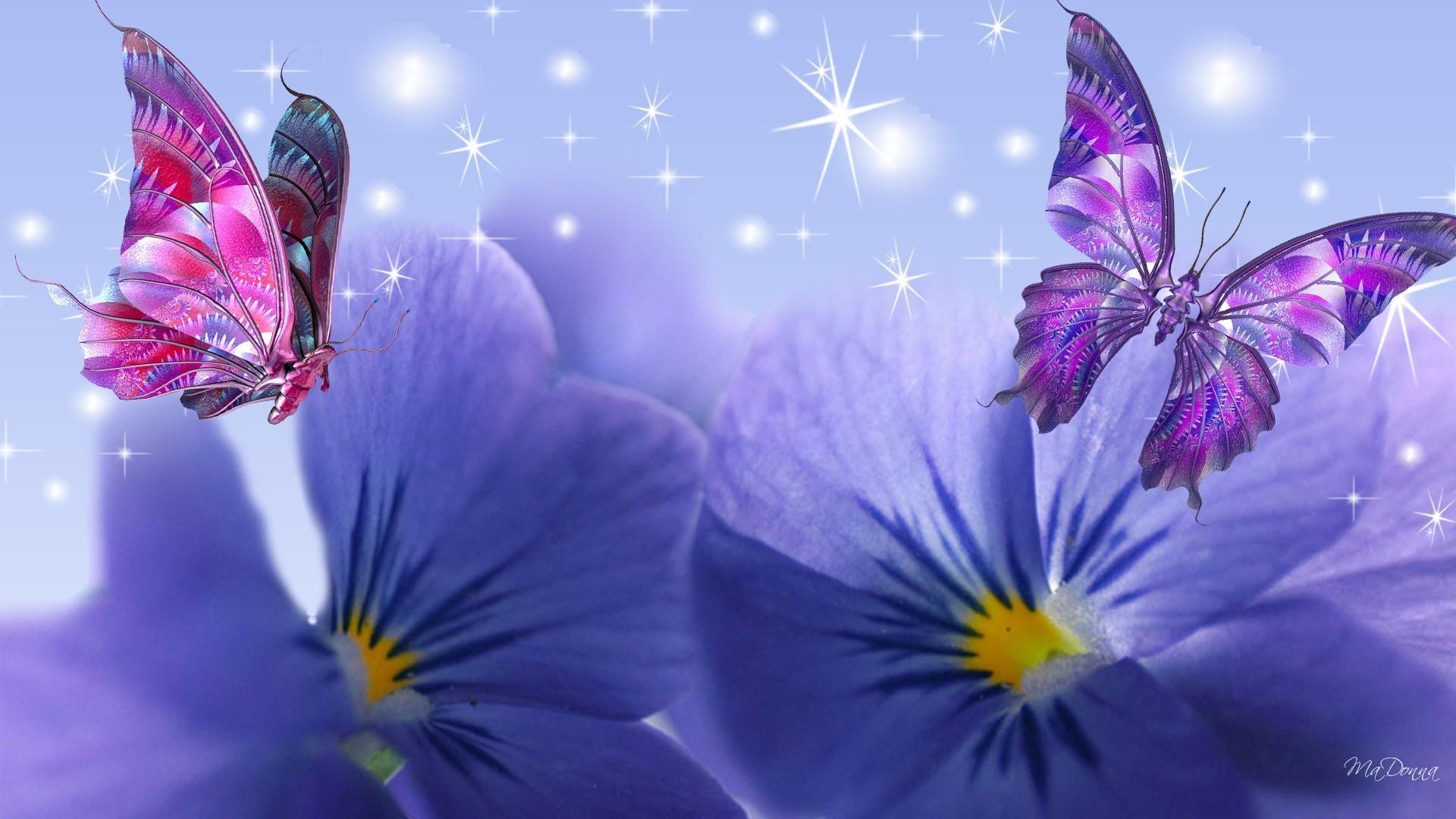 Открытка с фиолетовым цветком, блестяшки розами