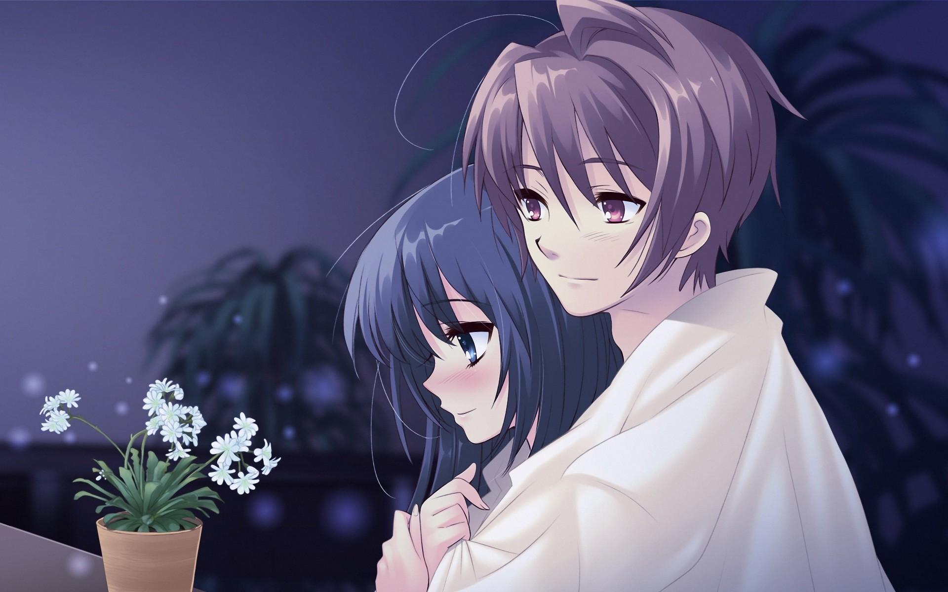 1920x1200 cute anime couple love wallpaper