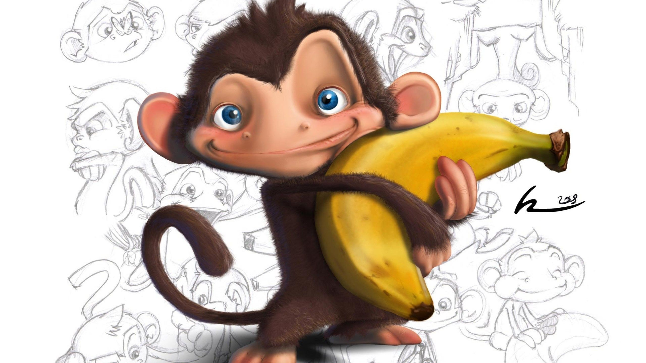 2560x1440 Other Banana Love Monkey Funny Cartoon Cute Pets Free Wallpapers