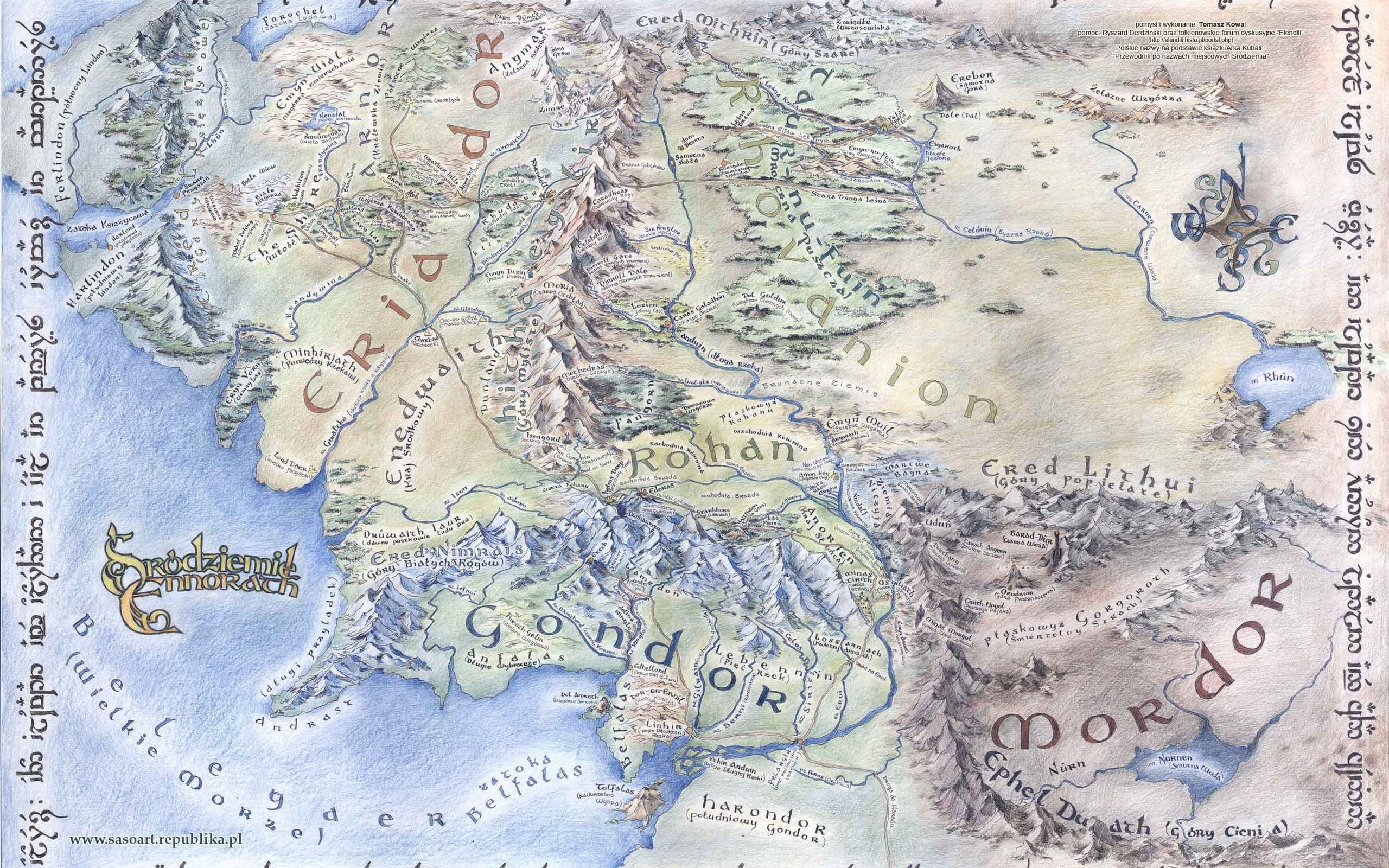 Map of middle earth wallpaper 2560x1600 original wallpaper download large detailed map of middle earth sciox Gallery