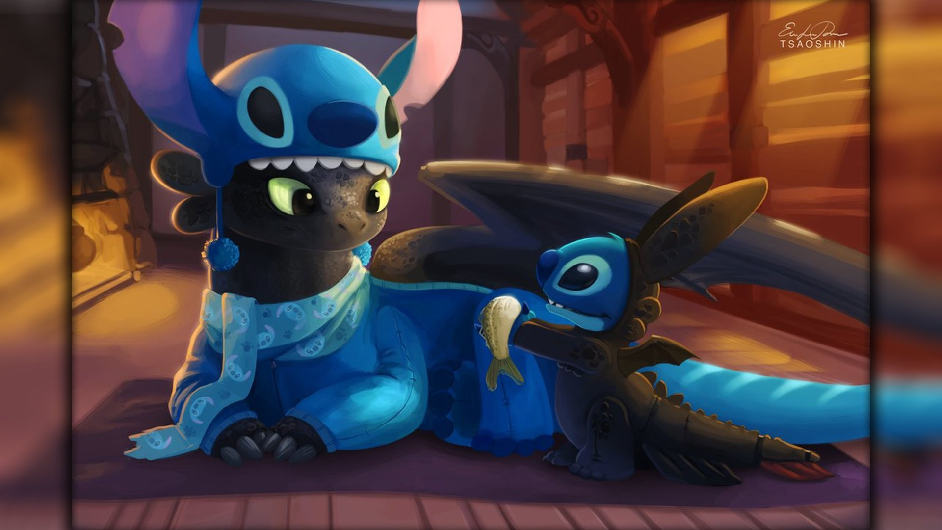 1920x1080 Lilo And Stitch Dragon Toothless How To Train Your Wallpaper HD