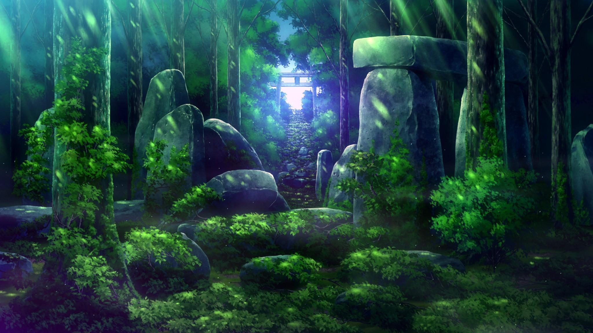 Картинки леса из аниме