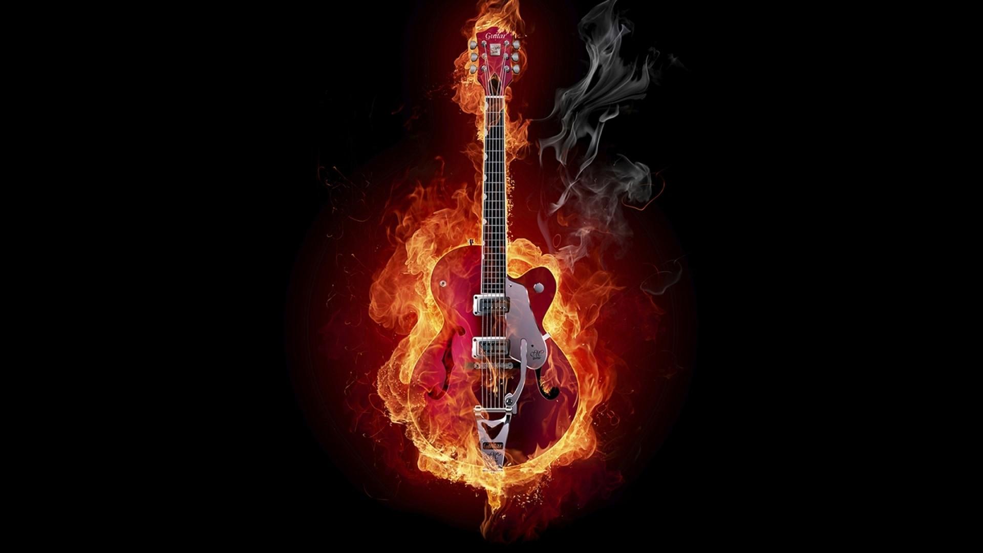 Hd wallpaper gitar - 1920x1080 Preview Wallpaper Guitar Fire Instrument Smoke Background 1920x1080