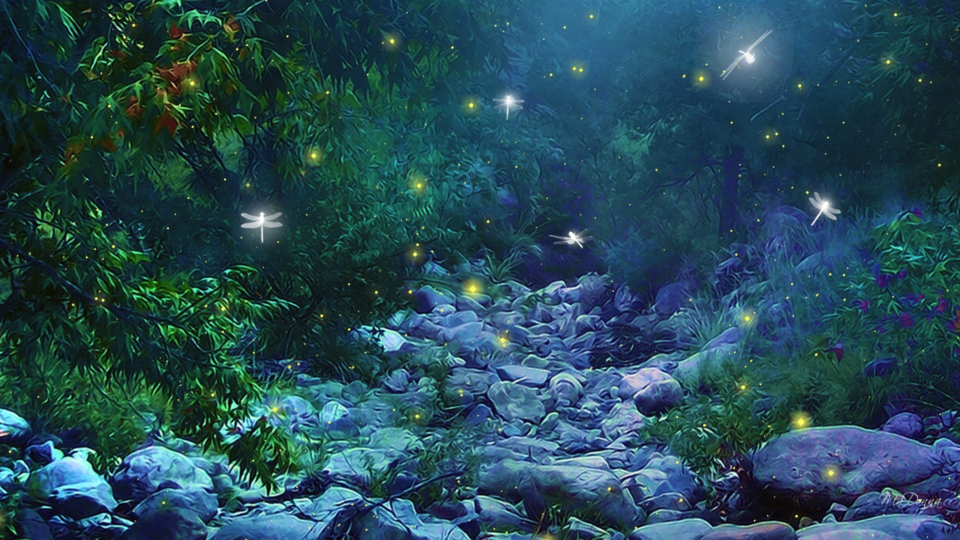 Wallpaperwiki Pictures Forest Twilight Fireflies Bokeh PIC