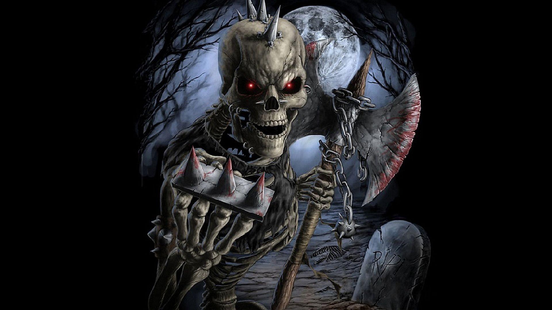 Gothic skull wallpaper - Scary skeleton games ...