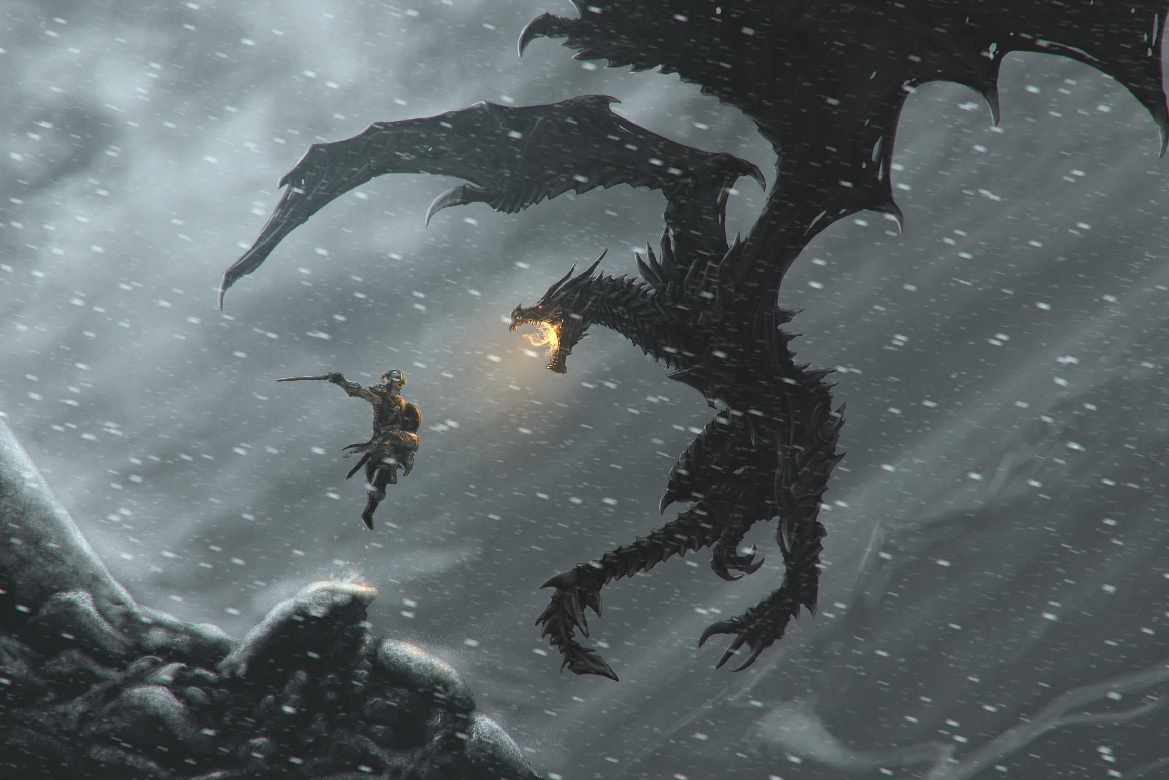 Skyrim Dragon Wallpaper Wallpapertag
