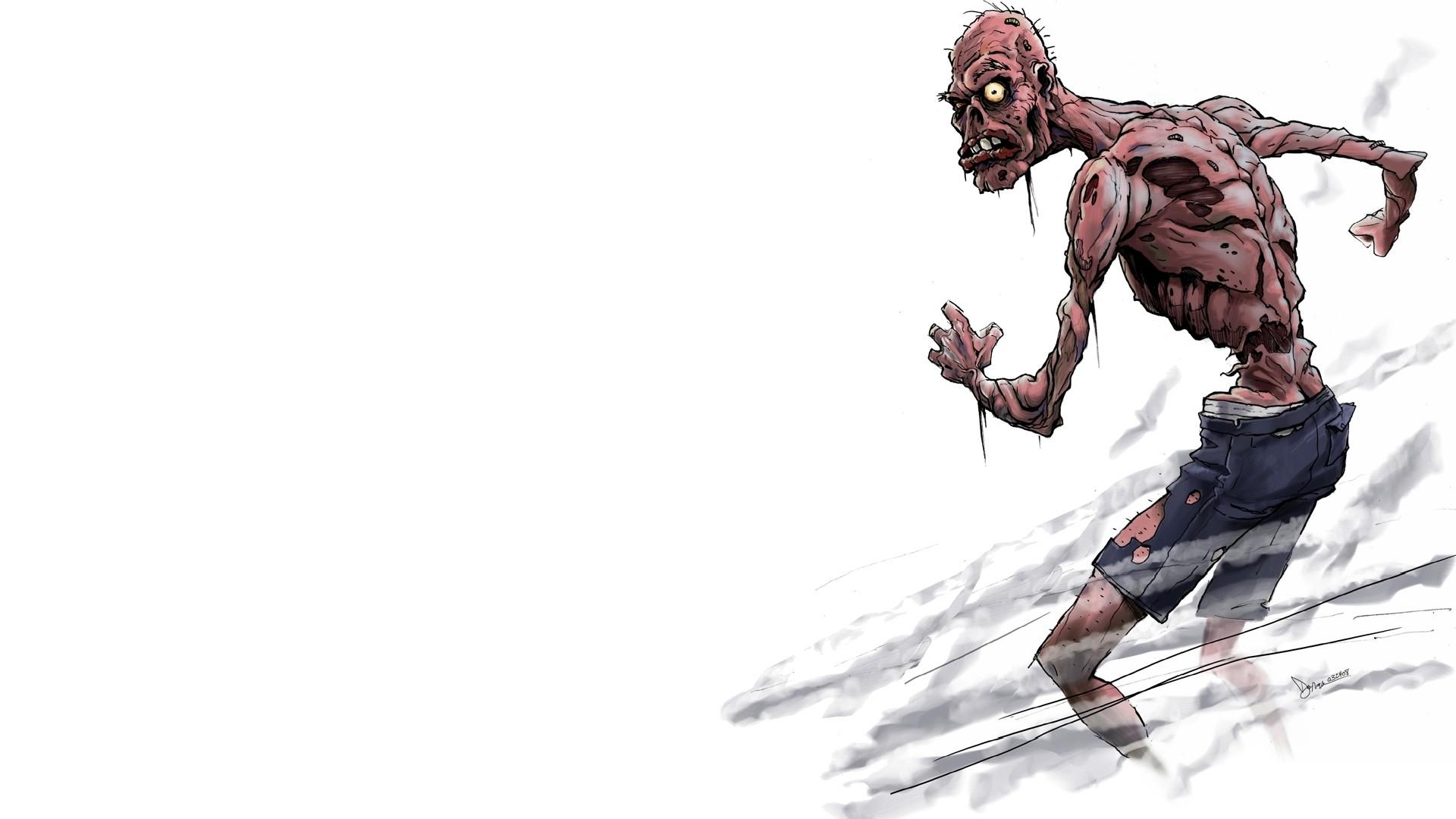 живые обои на рабочий стол зомби на белом фоне № 180047  скачать