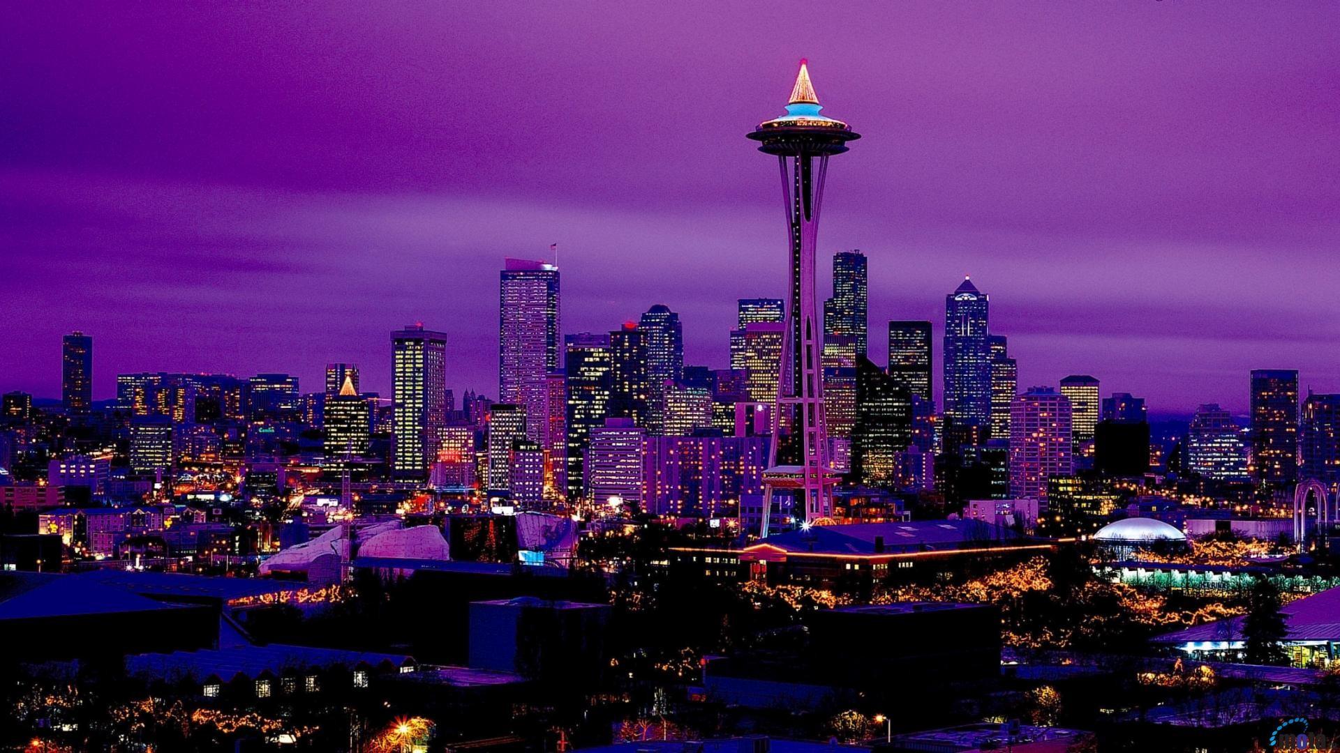Seattle skyline wallpaper wallpapertag - Night light hd wallpaper ...