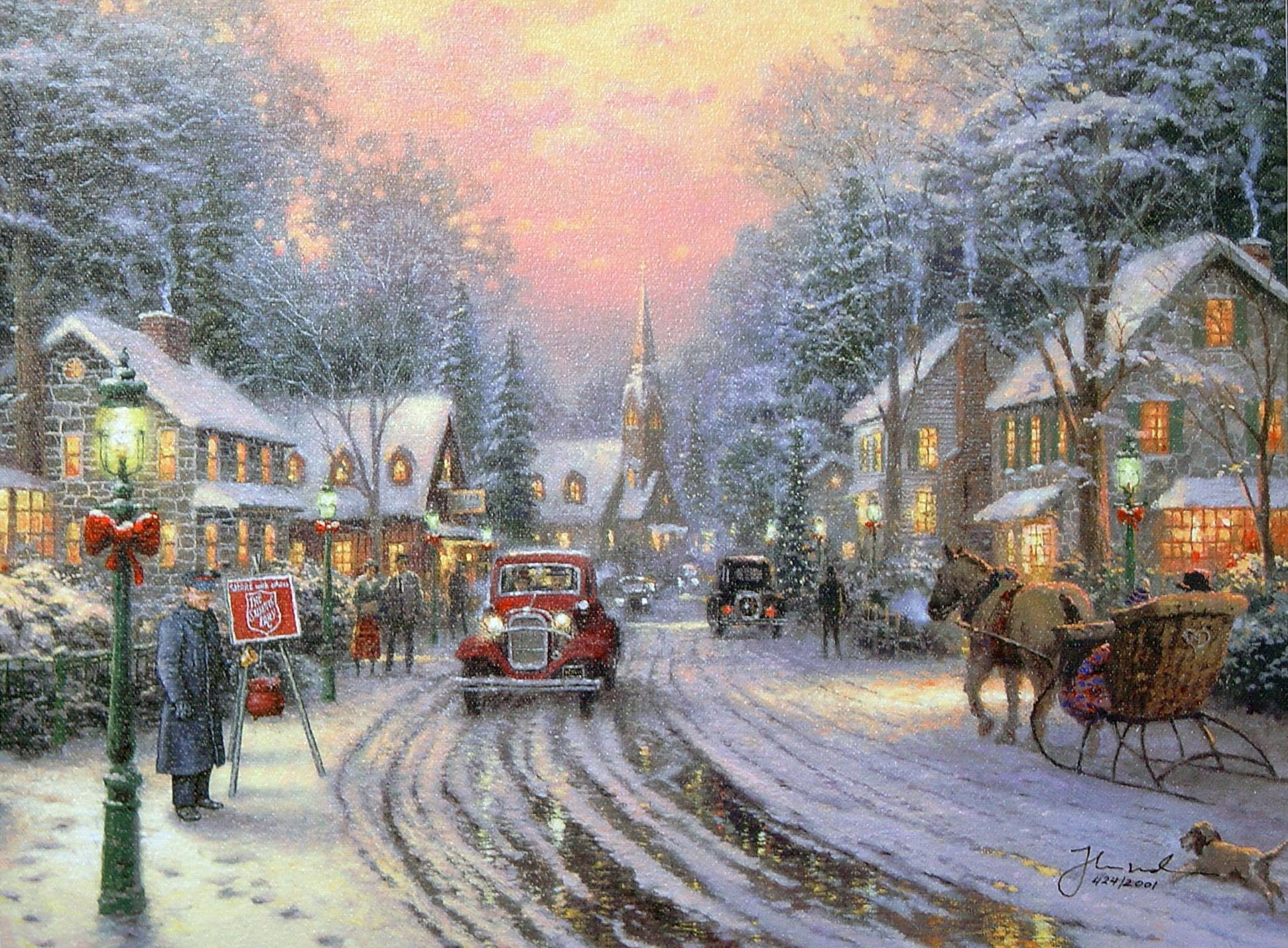 Christmas Painting by Thomas Kinkade Wallpaper and Background Image