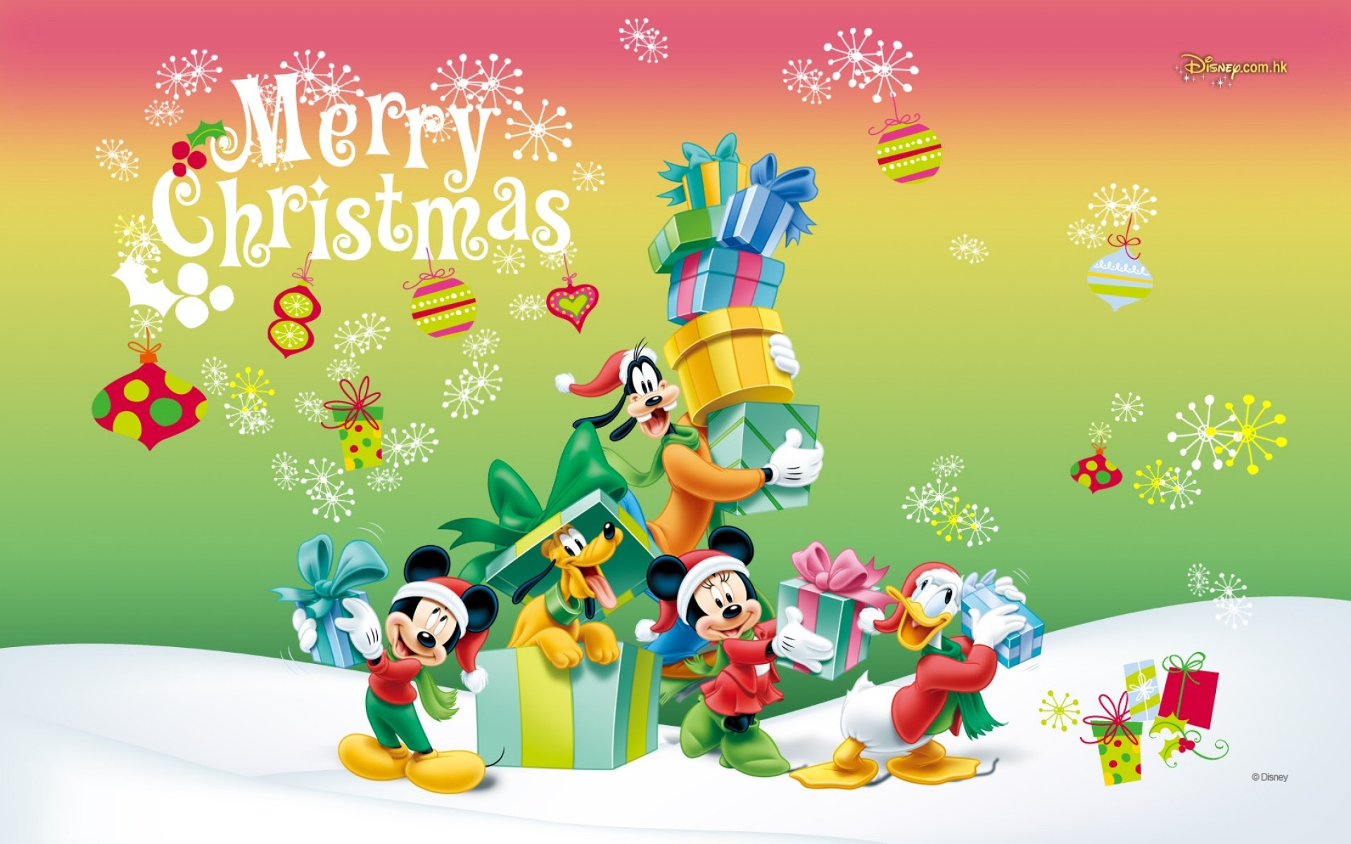 Mickey Mouse Christmas Wallpaper ·①