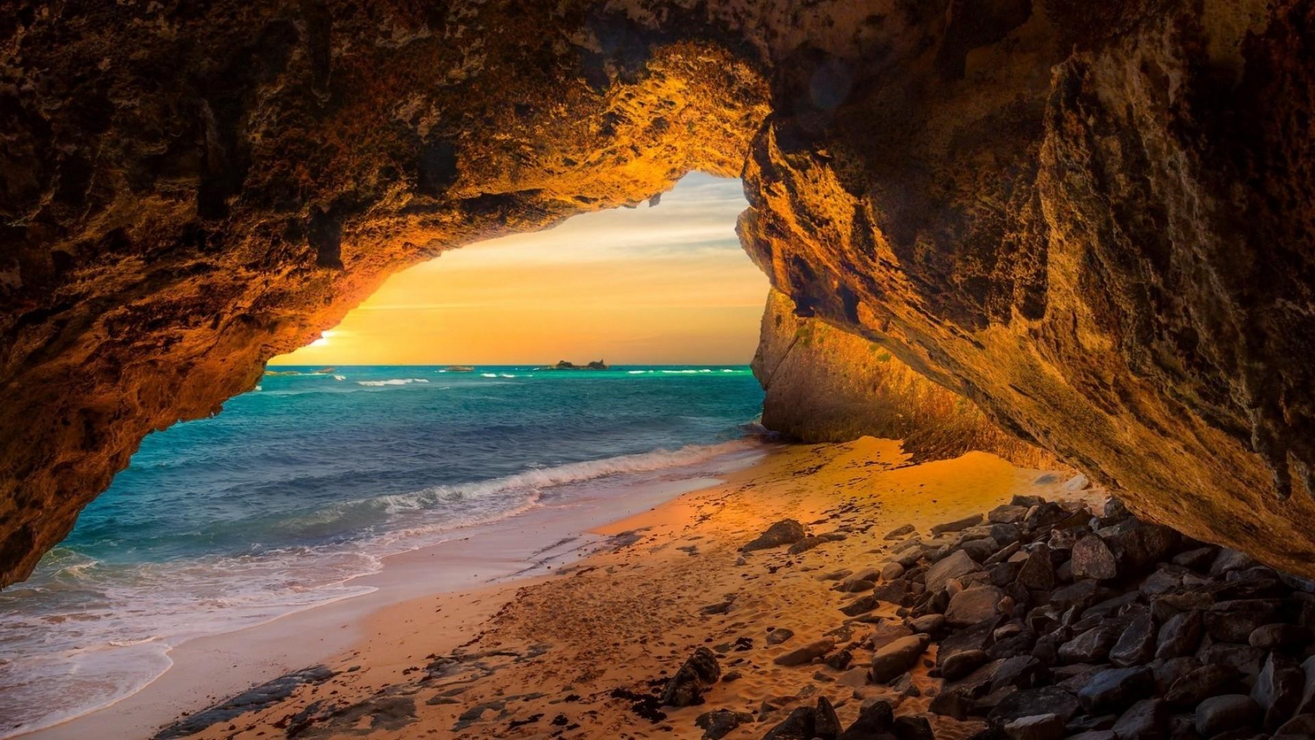 Пещера море рассвет камни  № 381397 без смс