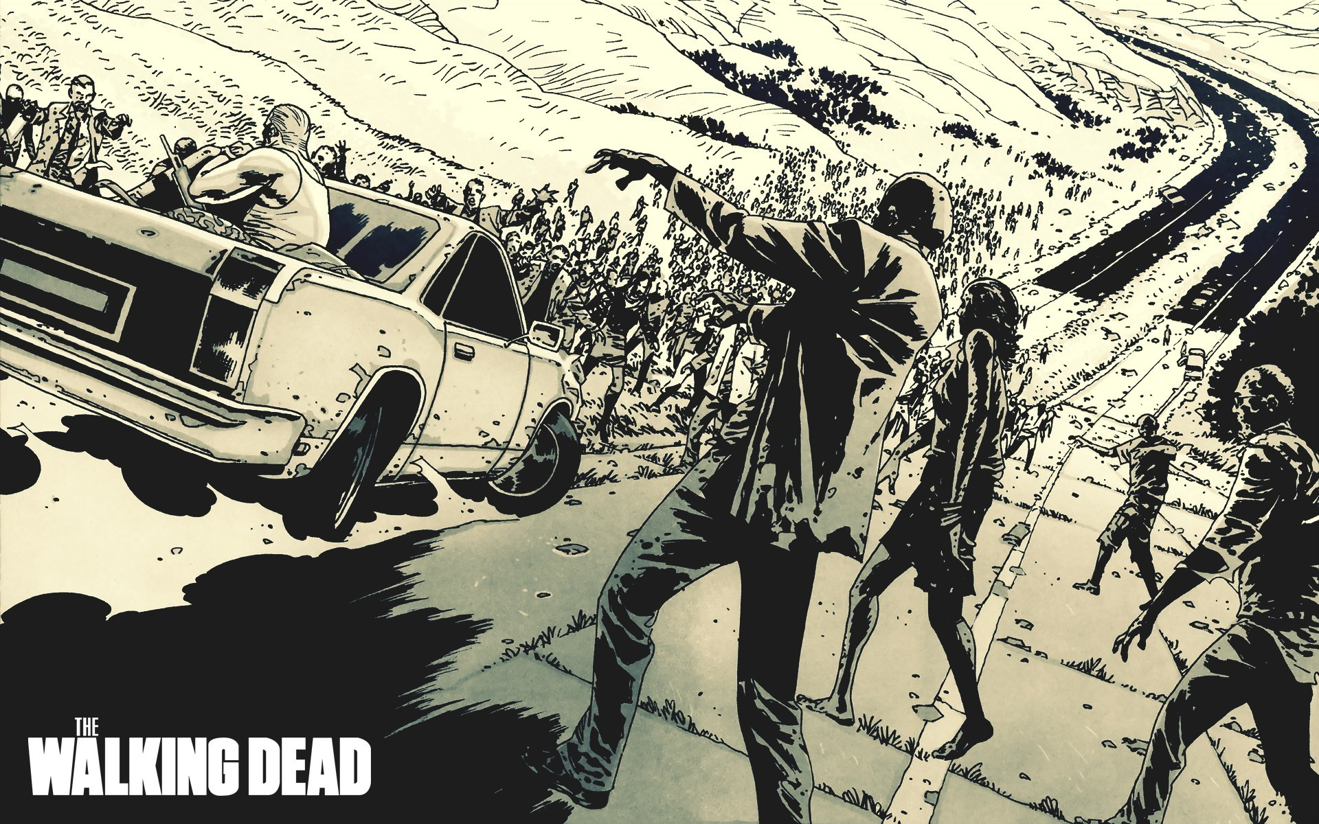 walking dead comic wallpaper ·①