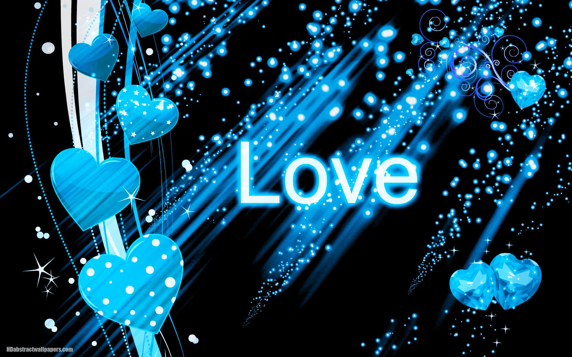 Abstract Wallpaper Black Hearts Blue 3d And Hd Wallpaper