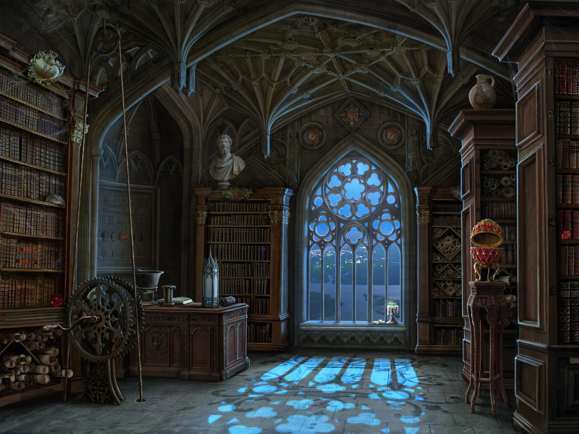 Library Background Images ·① Fantasy Library Wallpaper