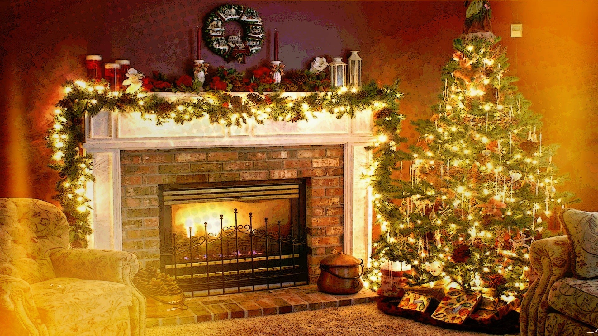 christmas fireplace wallpaper ·①