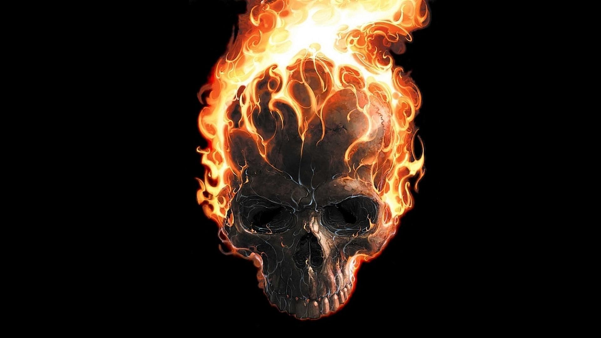 skull on fire wallpapers