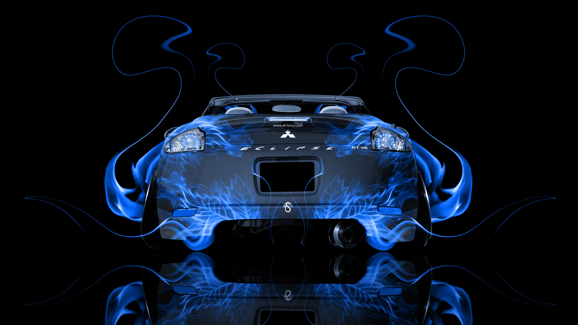 Mitsubishi Eclipse Abstract Blue Smoke Rims 2013 HD Source · Mitsubishi  Logo Wallpapers