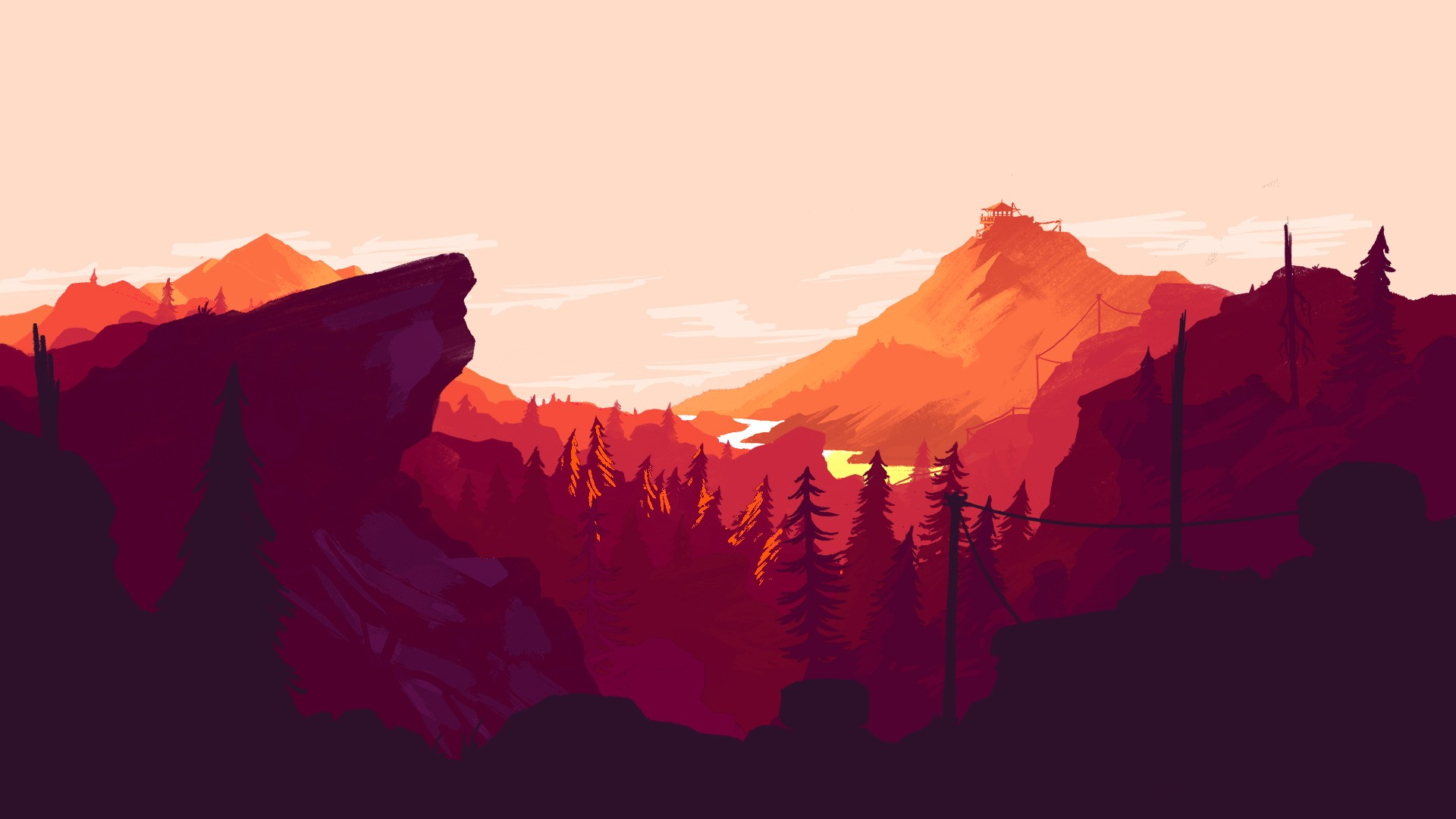 38 firewatch wallpapers download free beautiful high - Digital art wallpaper 3840x1080 ...