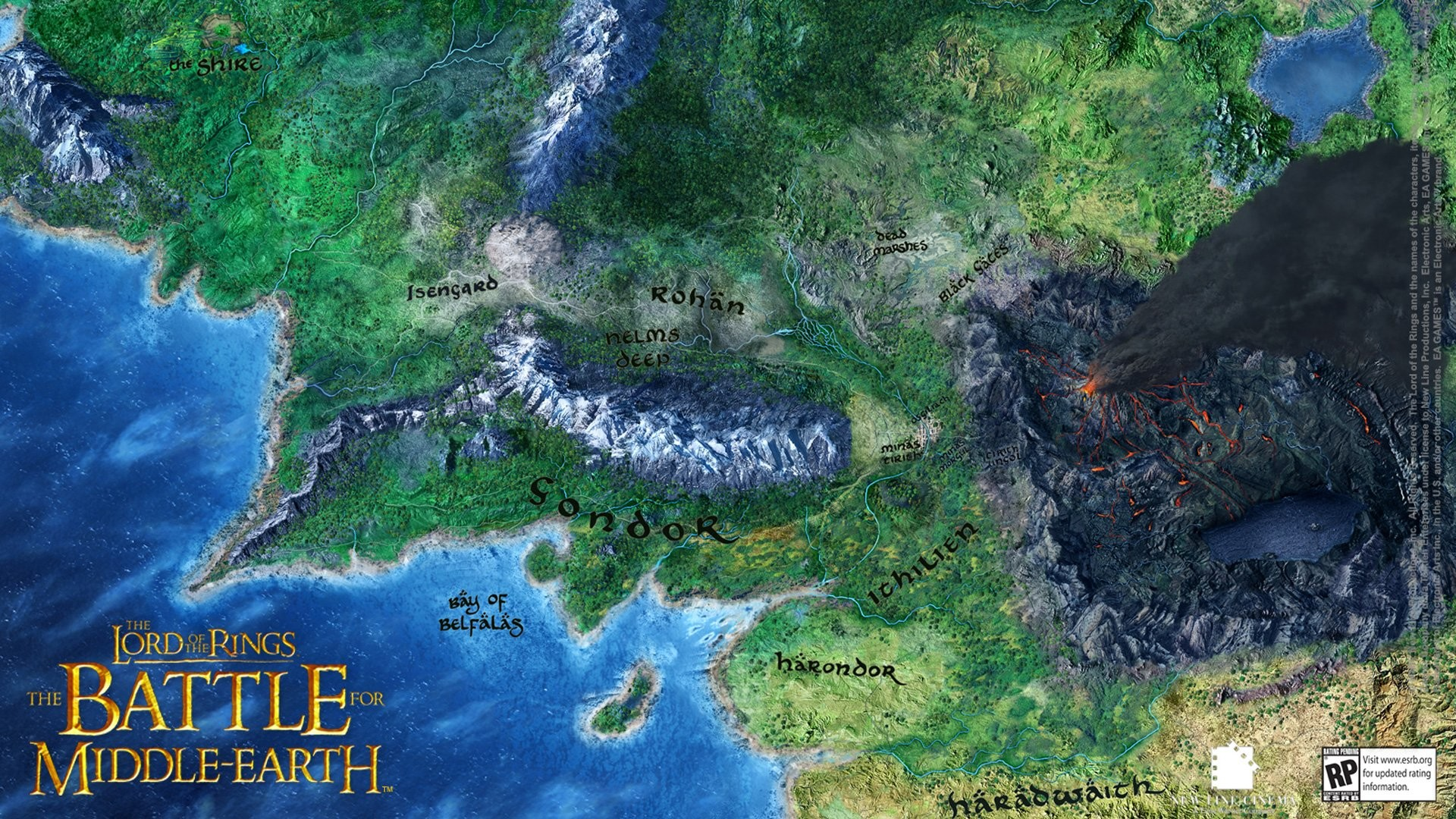 Map of middle earth wallpaper wallpapers battle for middle earth map sciox Gallery