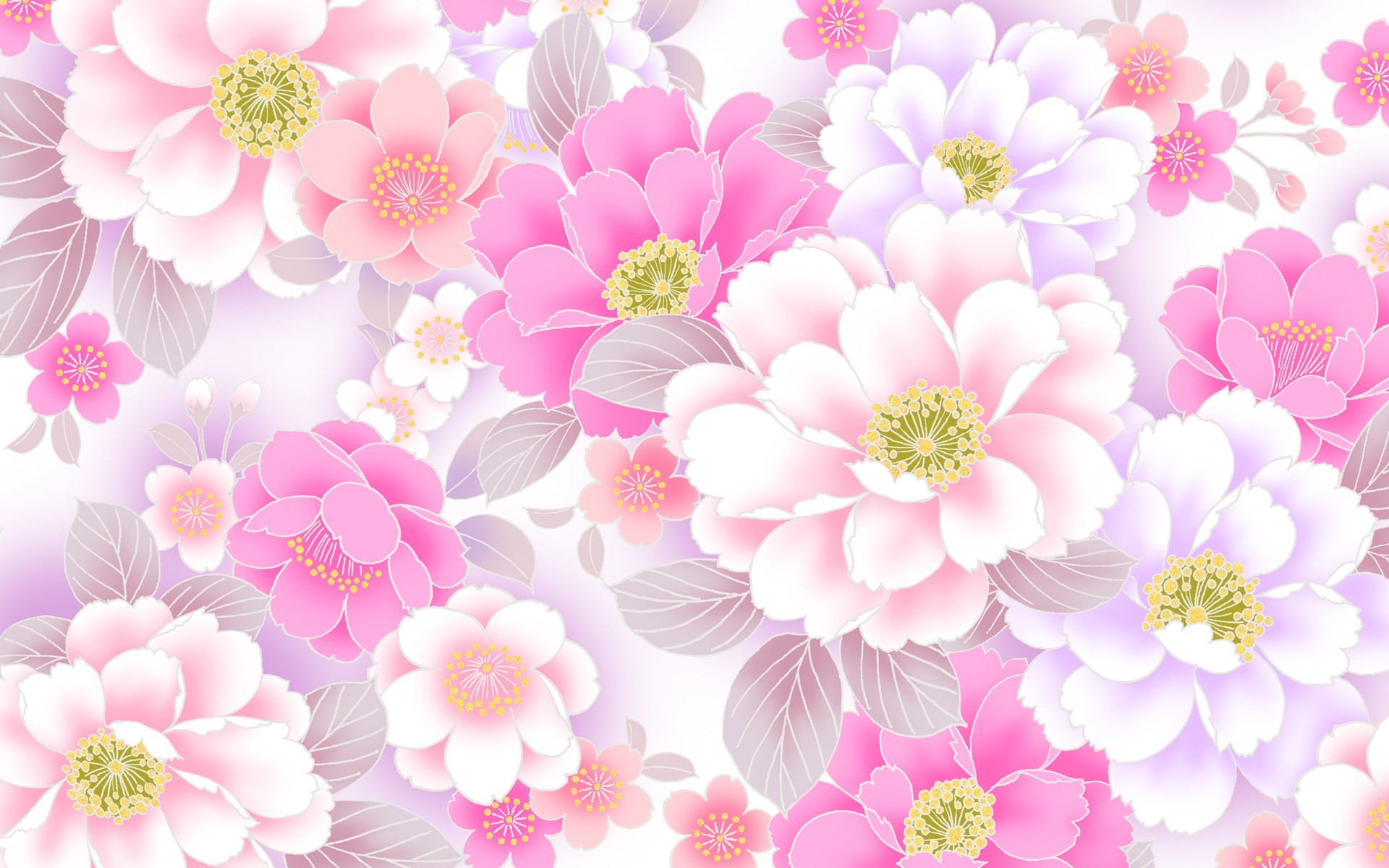 Pink Flower Wallpaper Background ·①