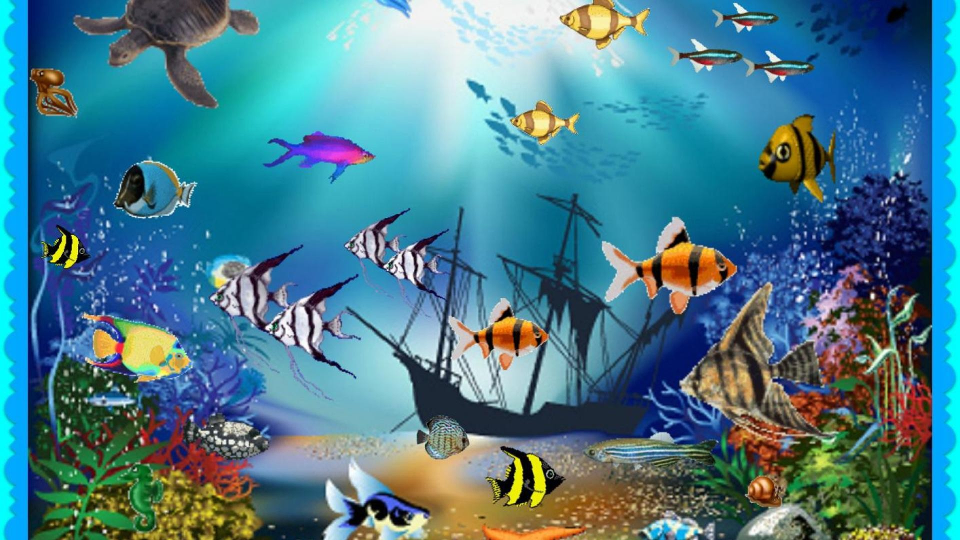 картинка на рабочий стол с двигающимися рыбками