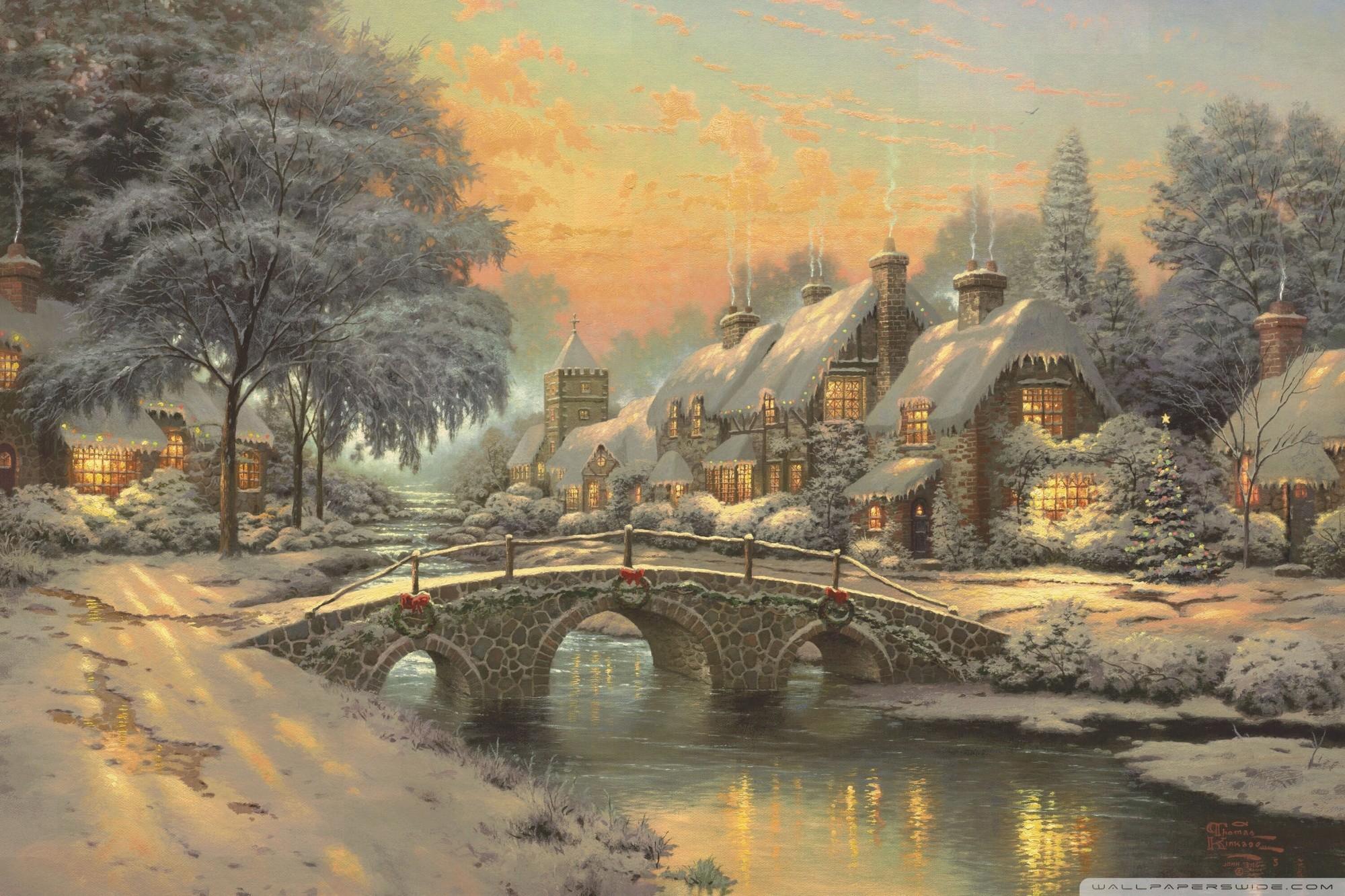 Thomas Kinkade Christmas Backgrounds ·①